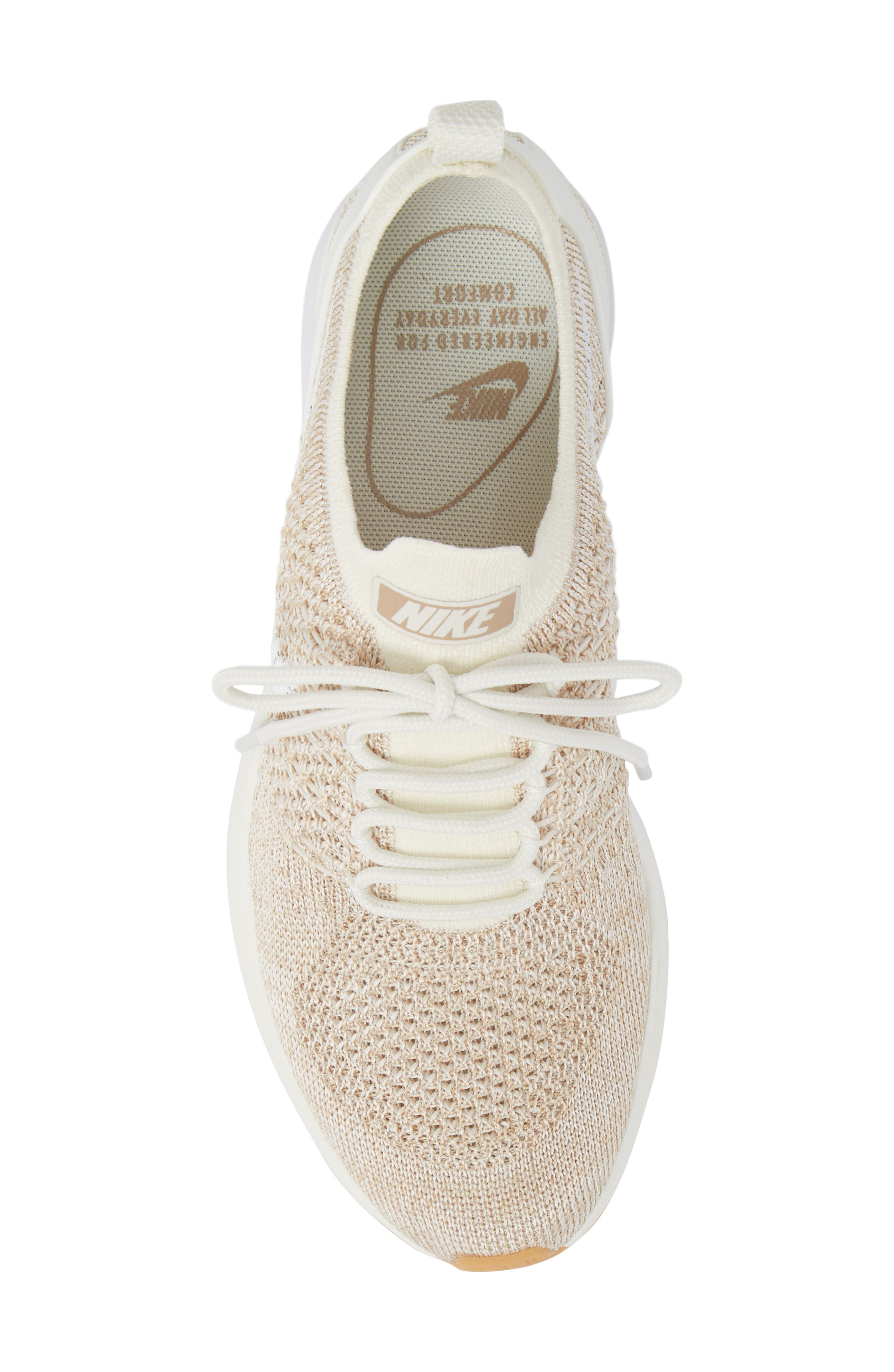 Air Zoom Mariah Flyknit Racer Sneaker,                             Alternate thumbnail 5, color,                             SAIL/ WHITE/ SAND