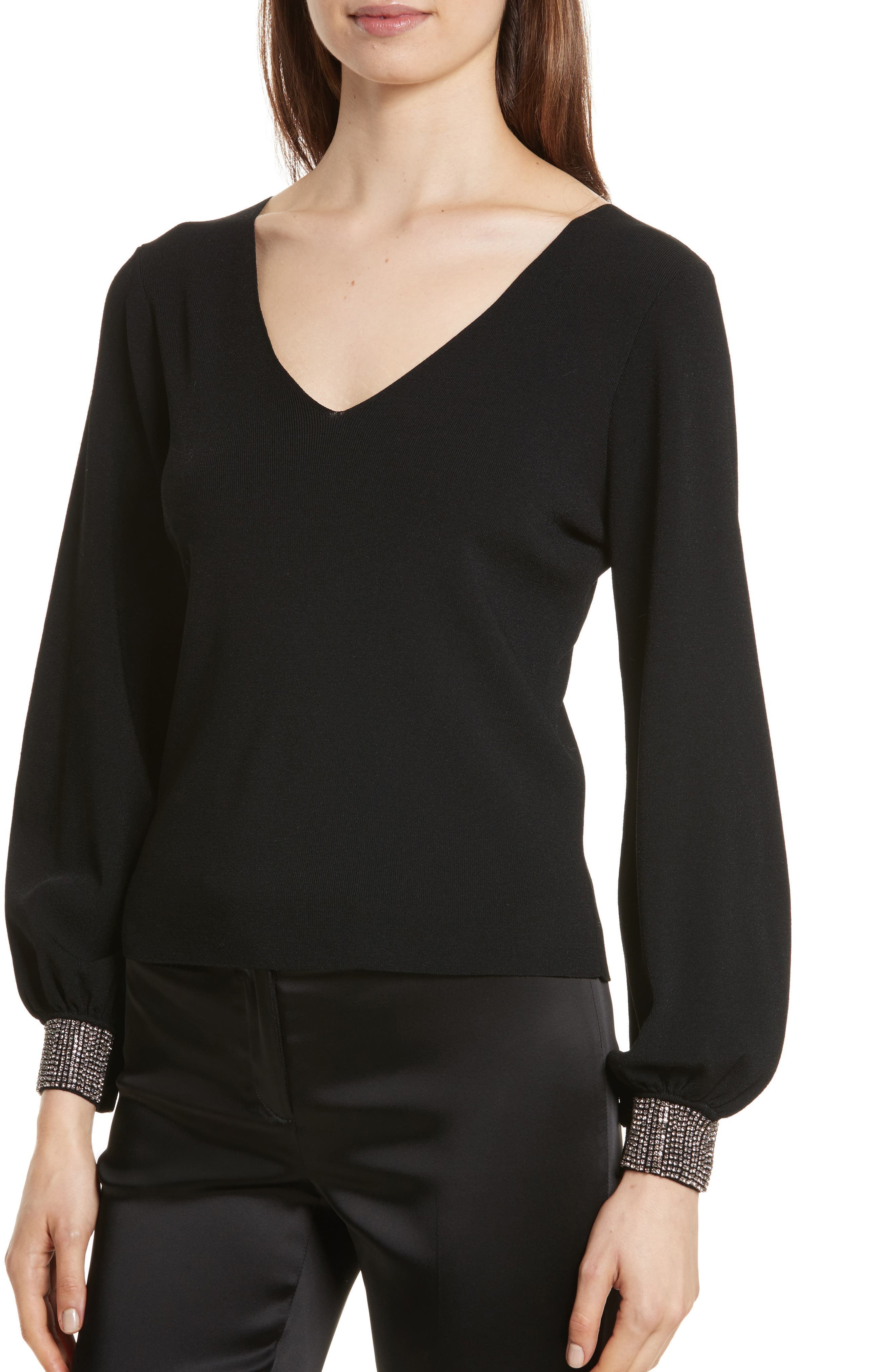 Gem Cuff V-Neck Sweater,                             Alternate thumbnail 4, color,
