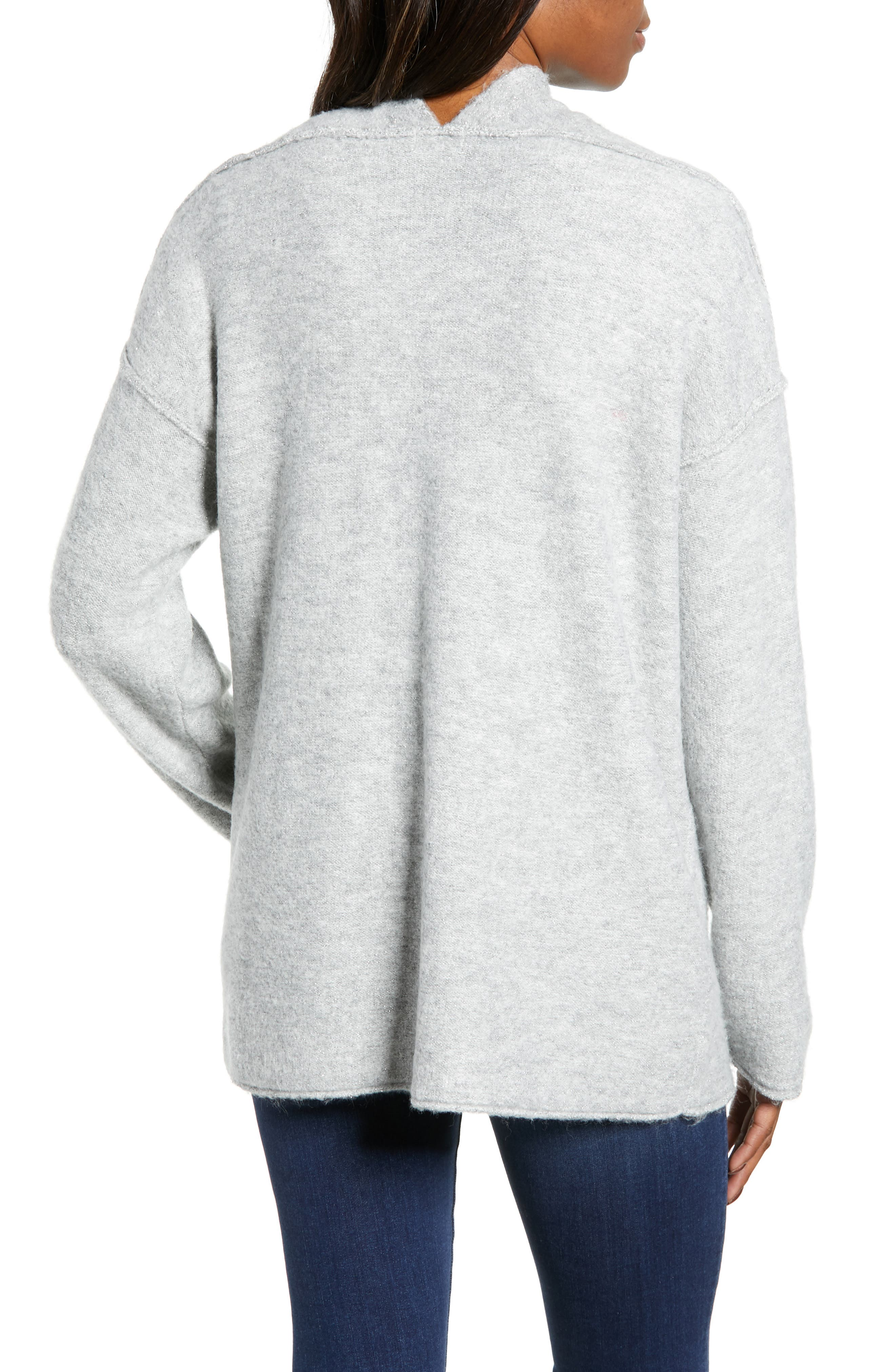 Dolman Sleeve Shimmer Cardigan,                             Alternate thumbnail 2, color,                             GREY HEATHER SHIMMER