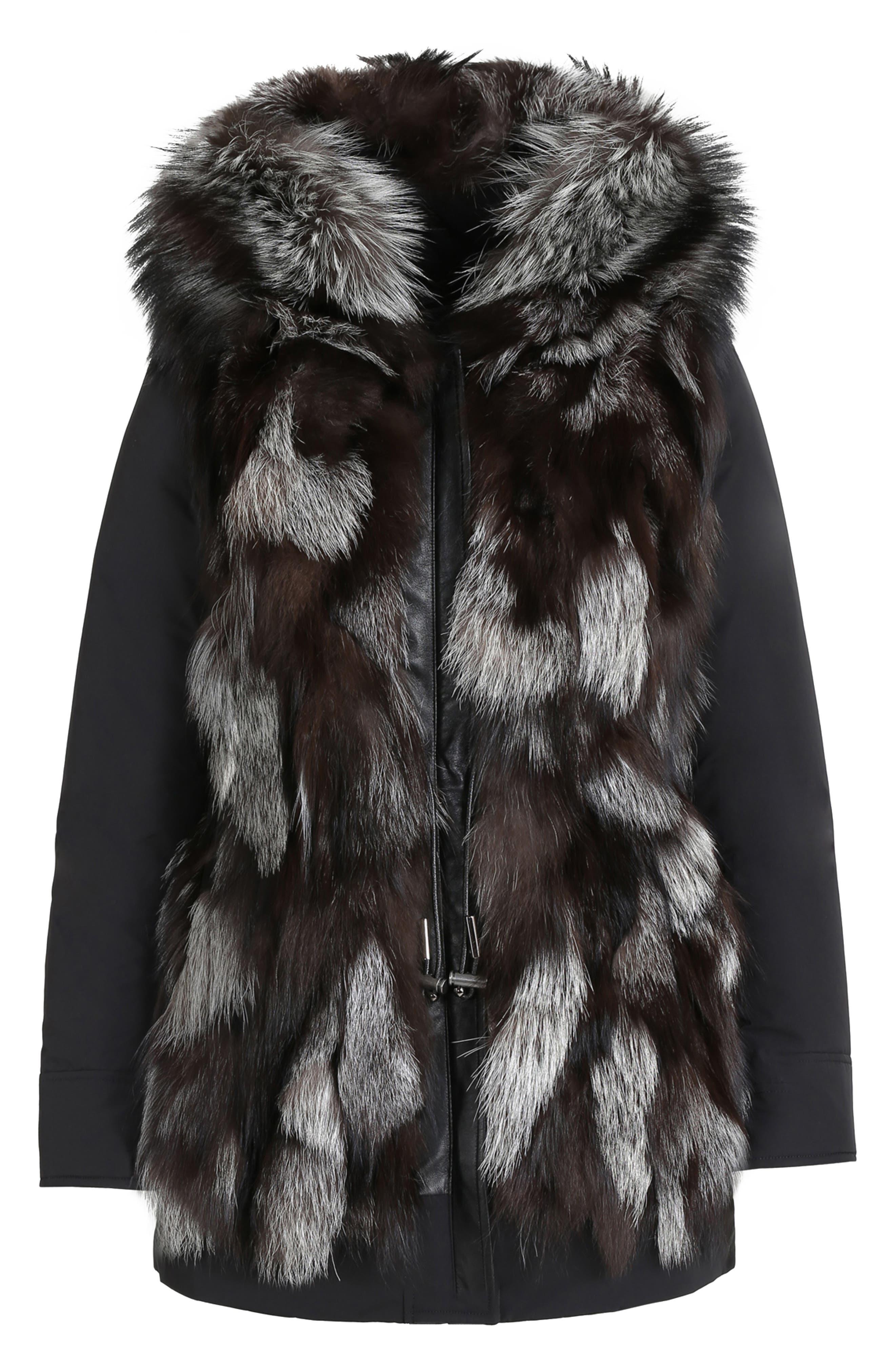 Somerset Reversible Hooded Down & Genuine Fox Fur Parka,                             Alternate thumbnail 5, color,                             BLACK