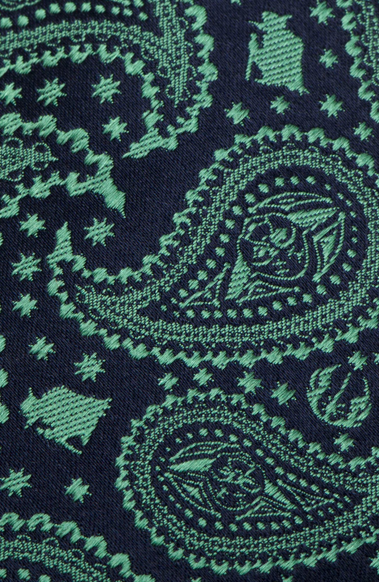 Yoda Paisley Silk Tie,                             Alternate thumbnail 3, color,                             GREEN