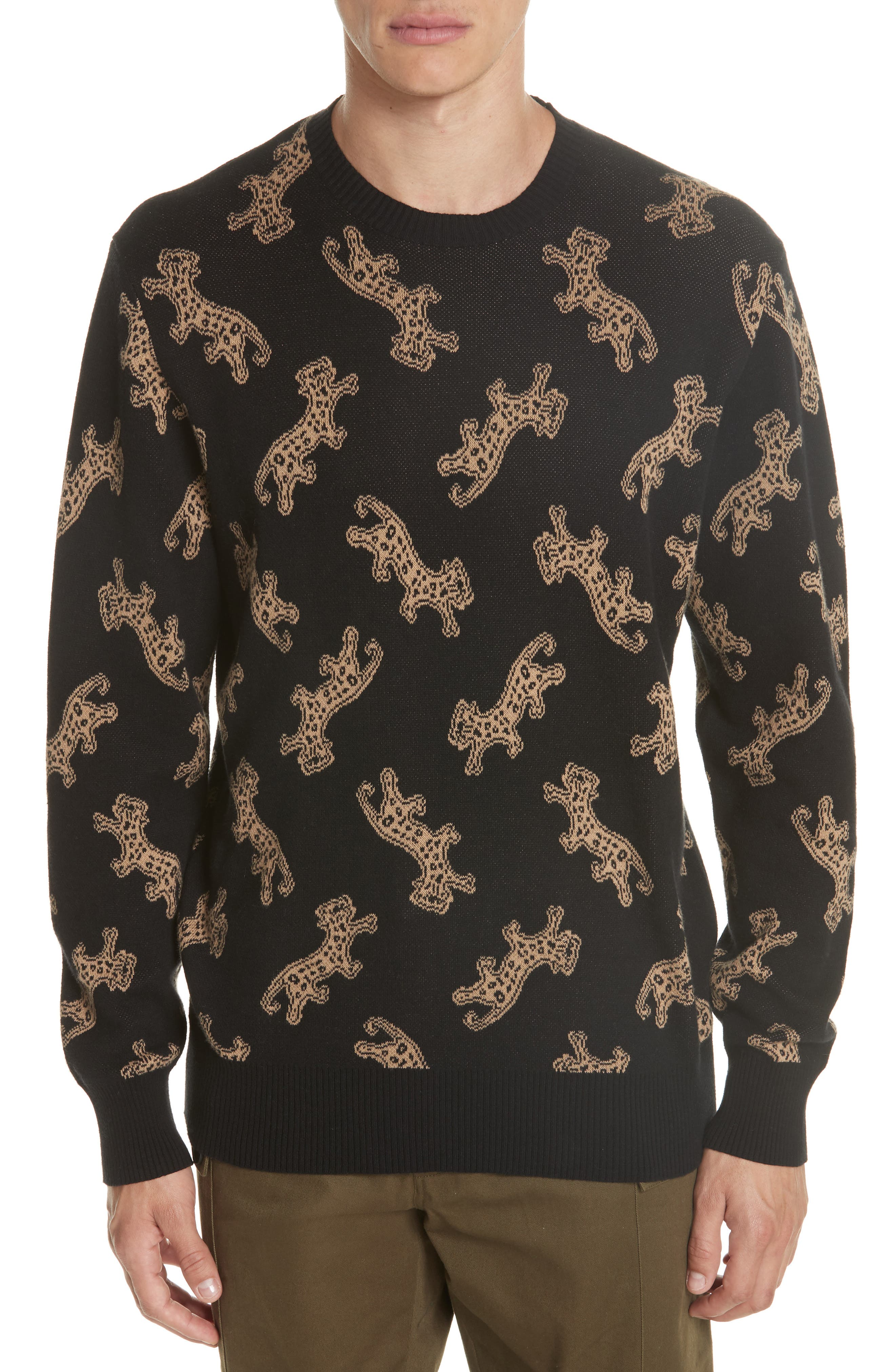 Leopard Jacquard Sweater,                             Main thumbnail 1, color,                             BLACK