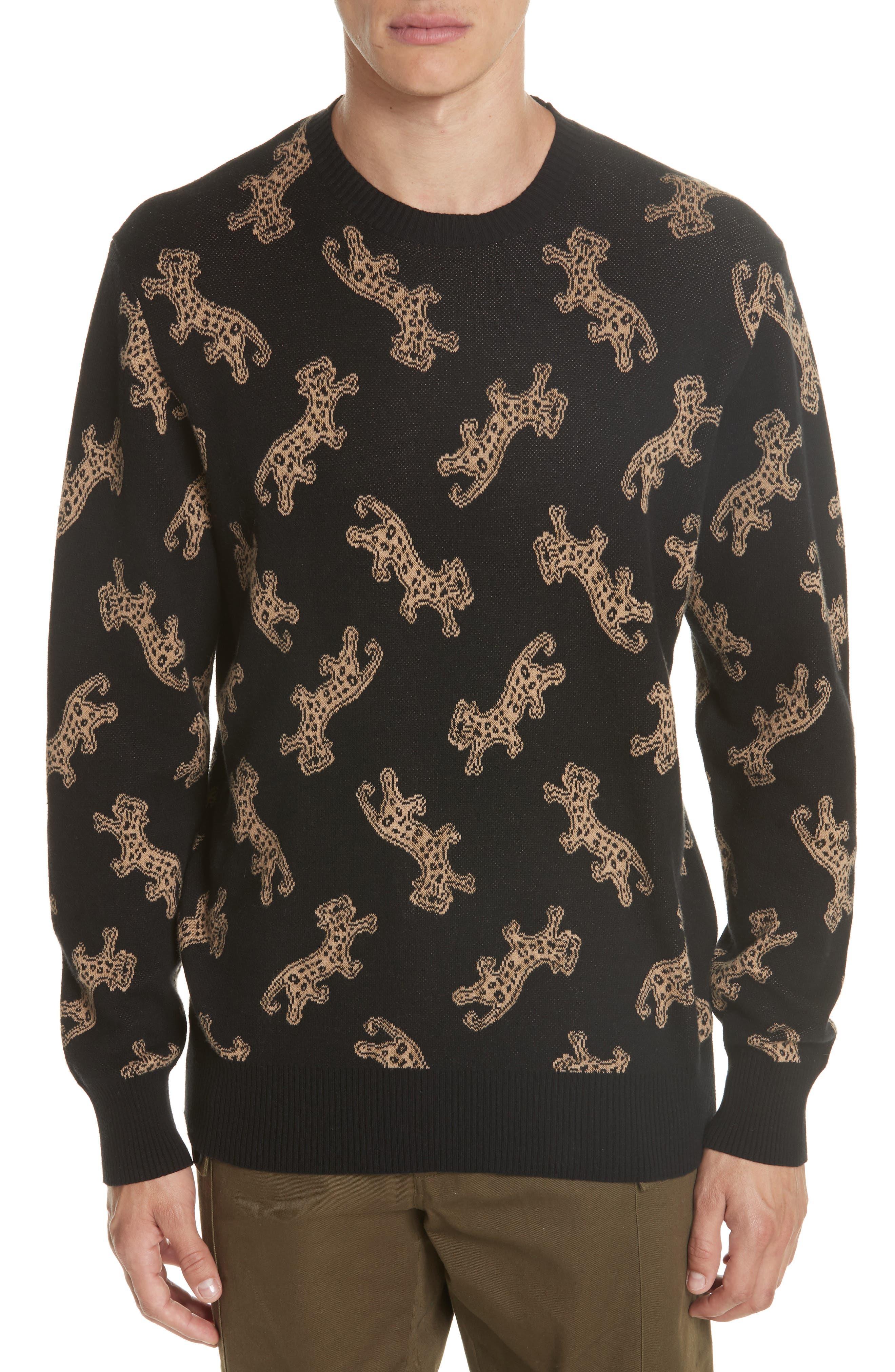 Leopard Jacquard Sweater,                         Main,                         color, BLACK