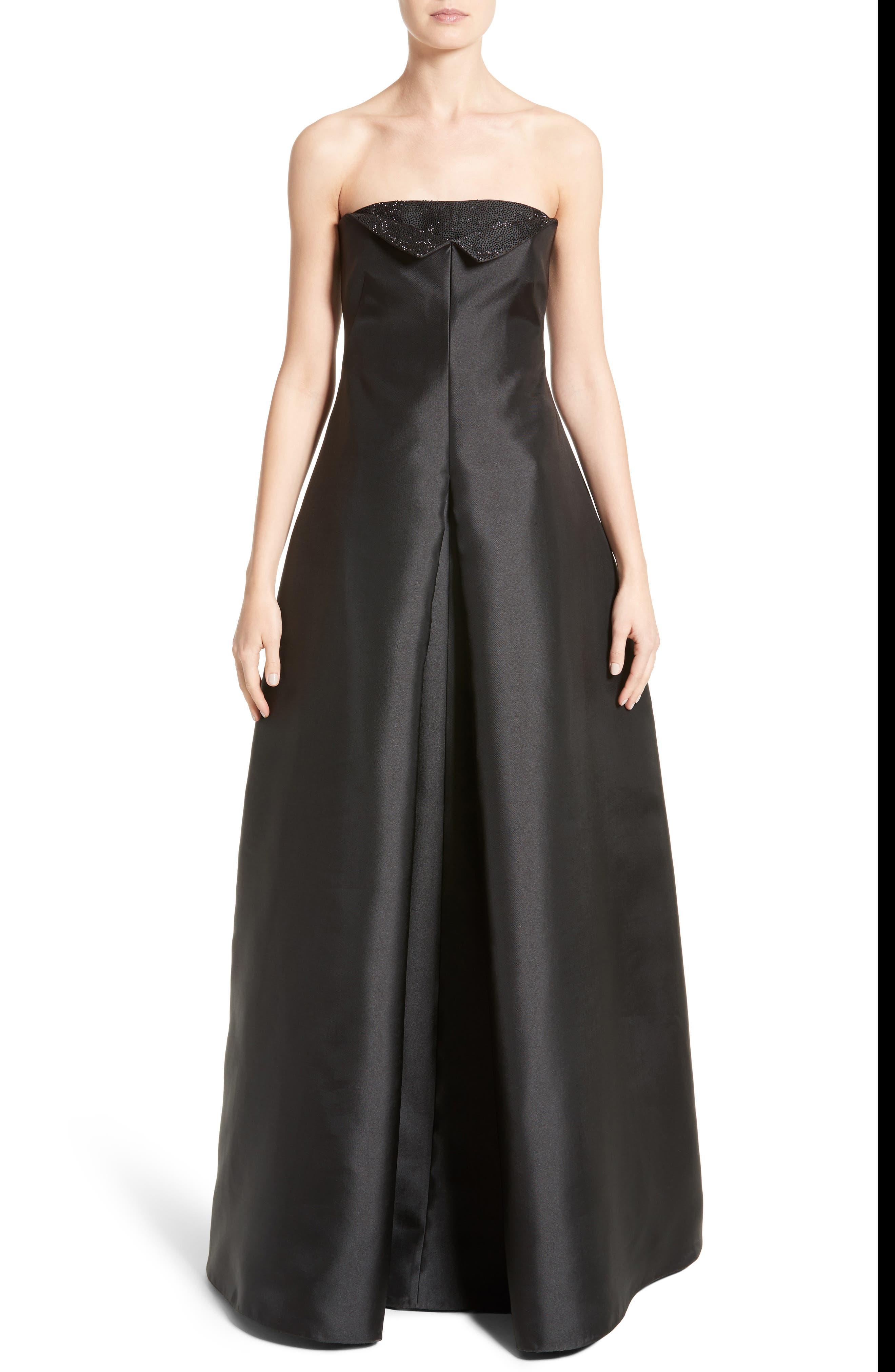 Crystal Embellished Gazar Strapless Gown,                         Main,                         color, 004