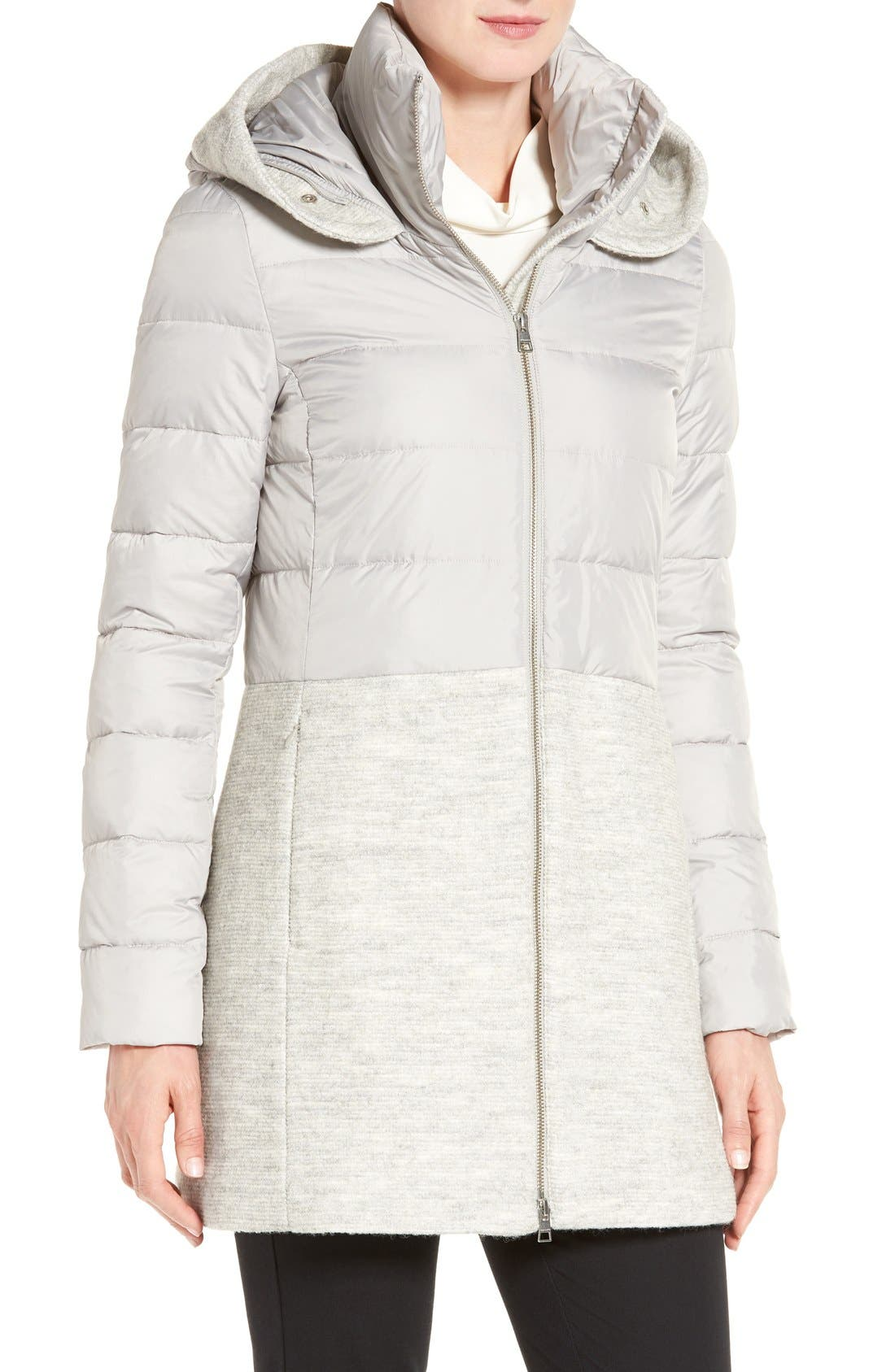 Mixed Media Quilted Coat with Genuine Coyote Fur Trim Hood,                             Alternate thumbnail 4, color,                             084
