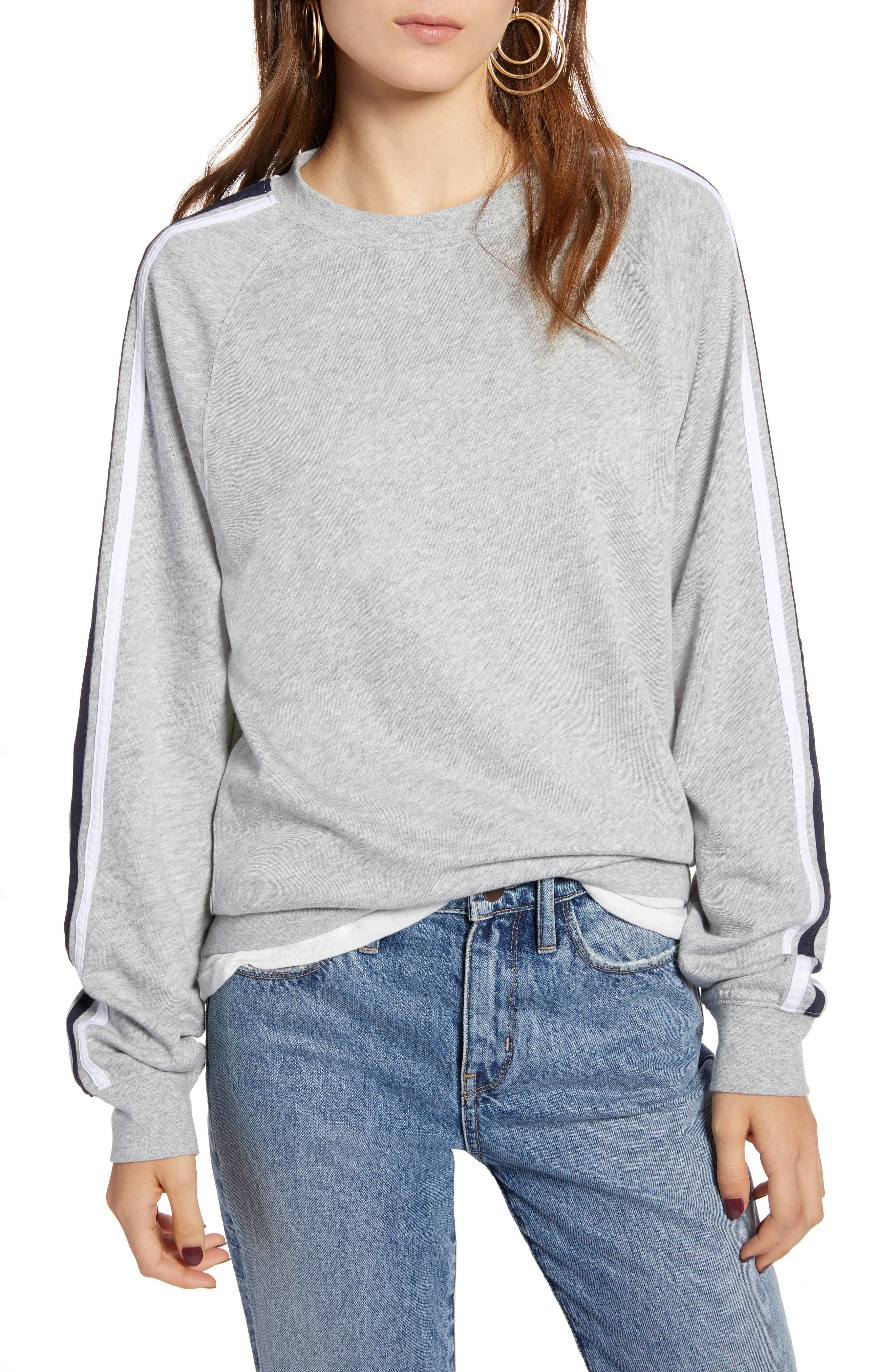 Stripe Raglan Sleeve Sweatshirt,                             Main thumbnail 1, color,                             030