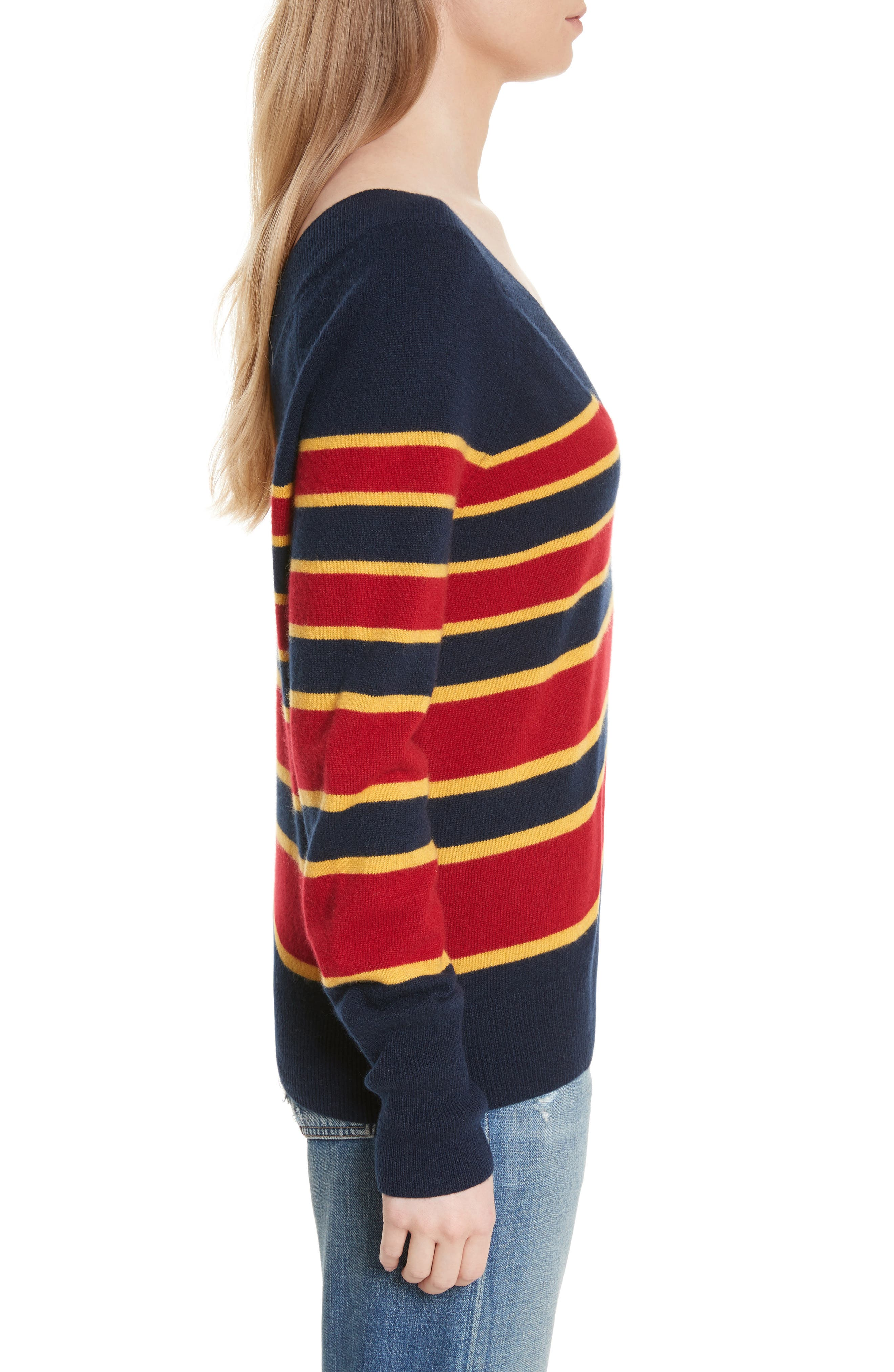 Dorothy Stripe Cashmere Sweater,                             Alternate thumbnail 3, color,                             402