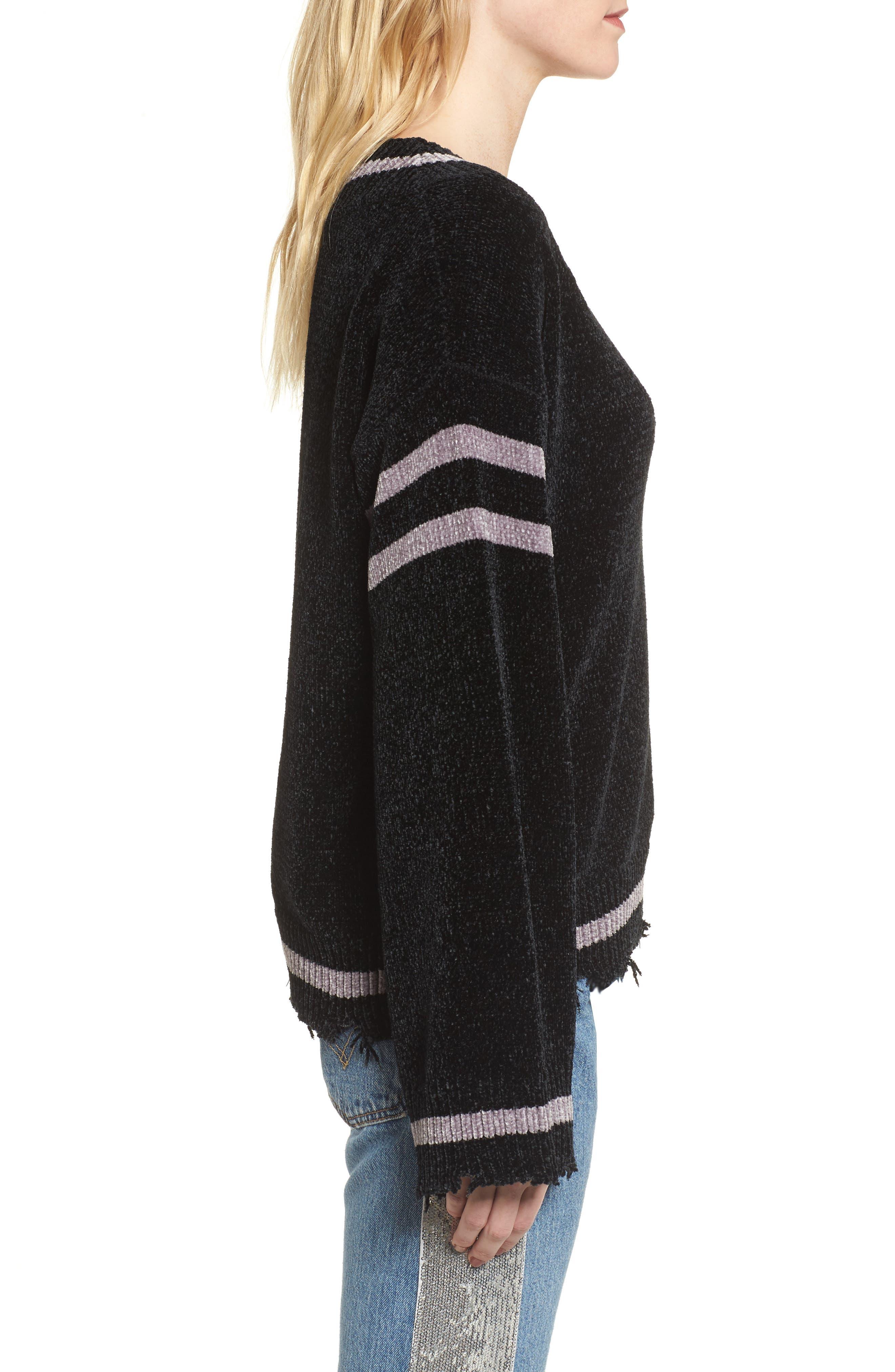 Oversize V-Neck Sweater,                             Alternate thumbnail 3, color,                             BLACK/ MED. HEATHER GREY