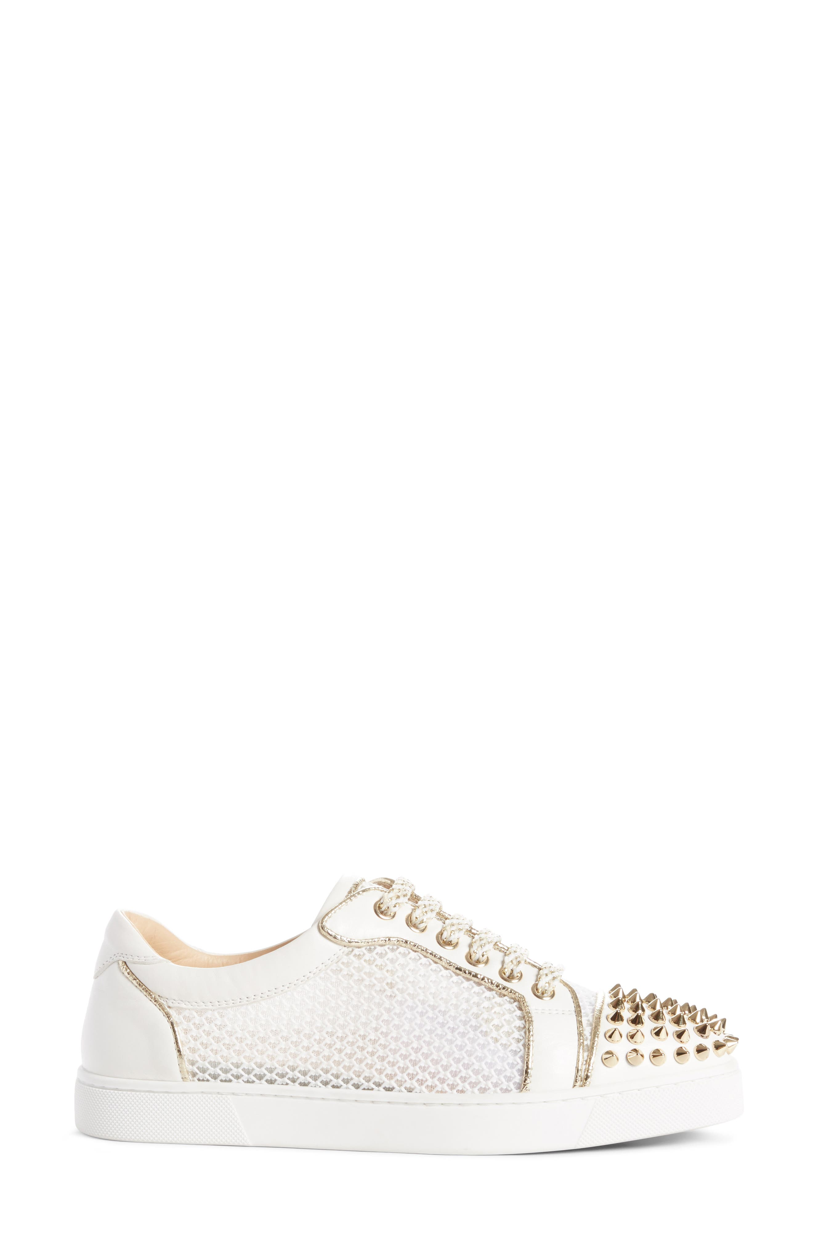 Vieira Spiked Low Top Sneaker,                             Alternate thumbnail 3, color,                             LATTE/ LIGHT GOLD