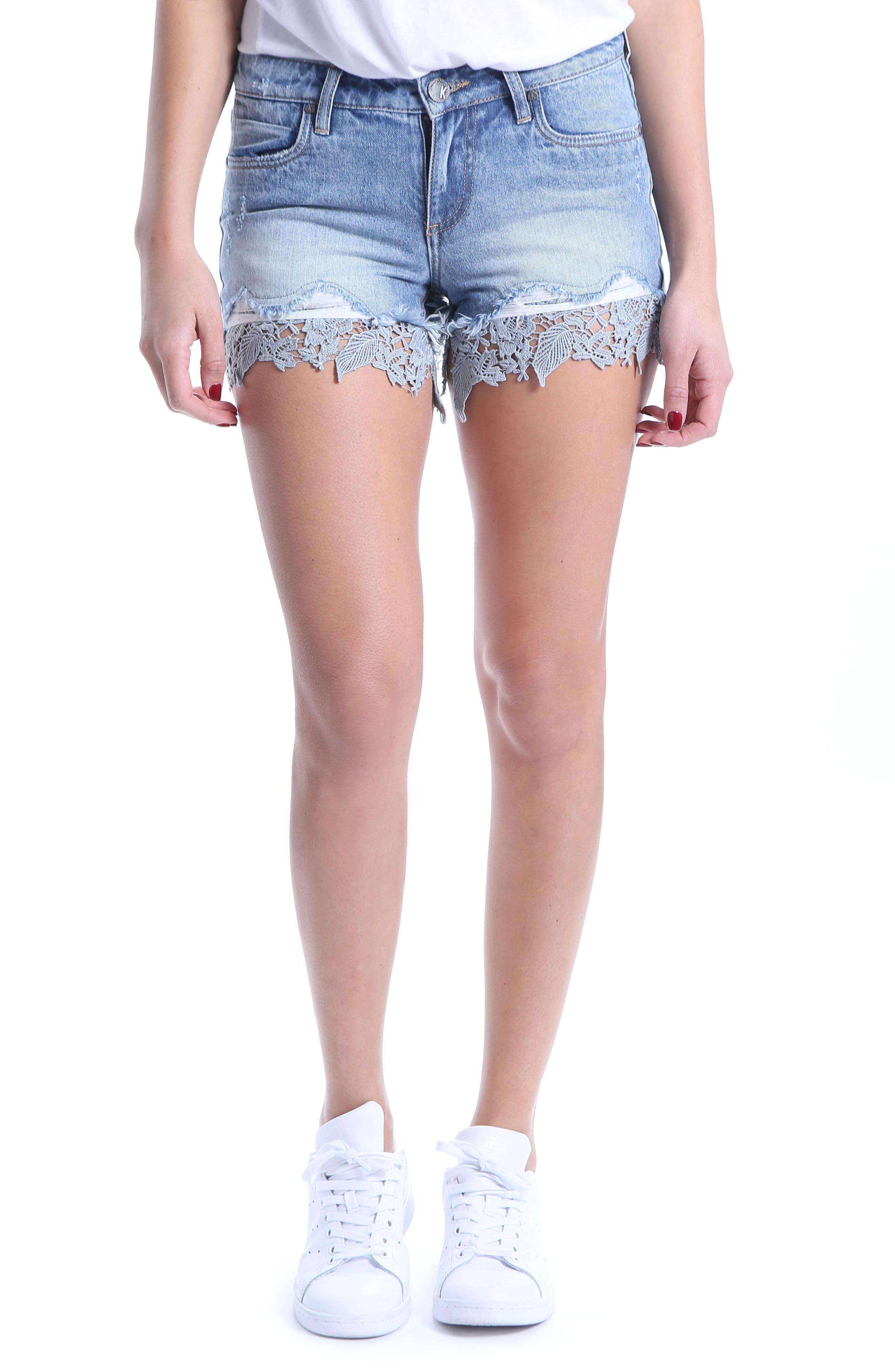 Allison Lace Border Denim Shorts,                         Main,                         color,
