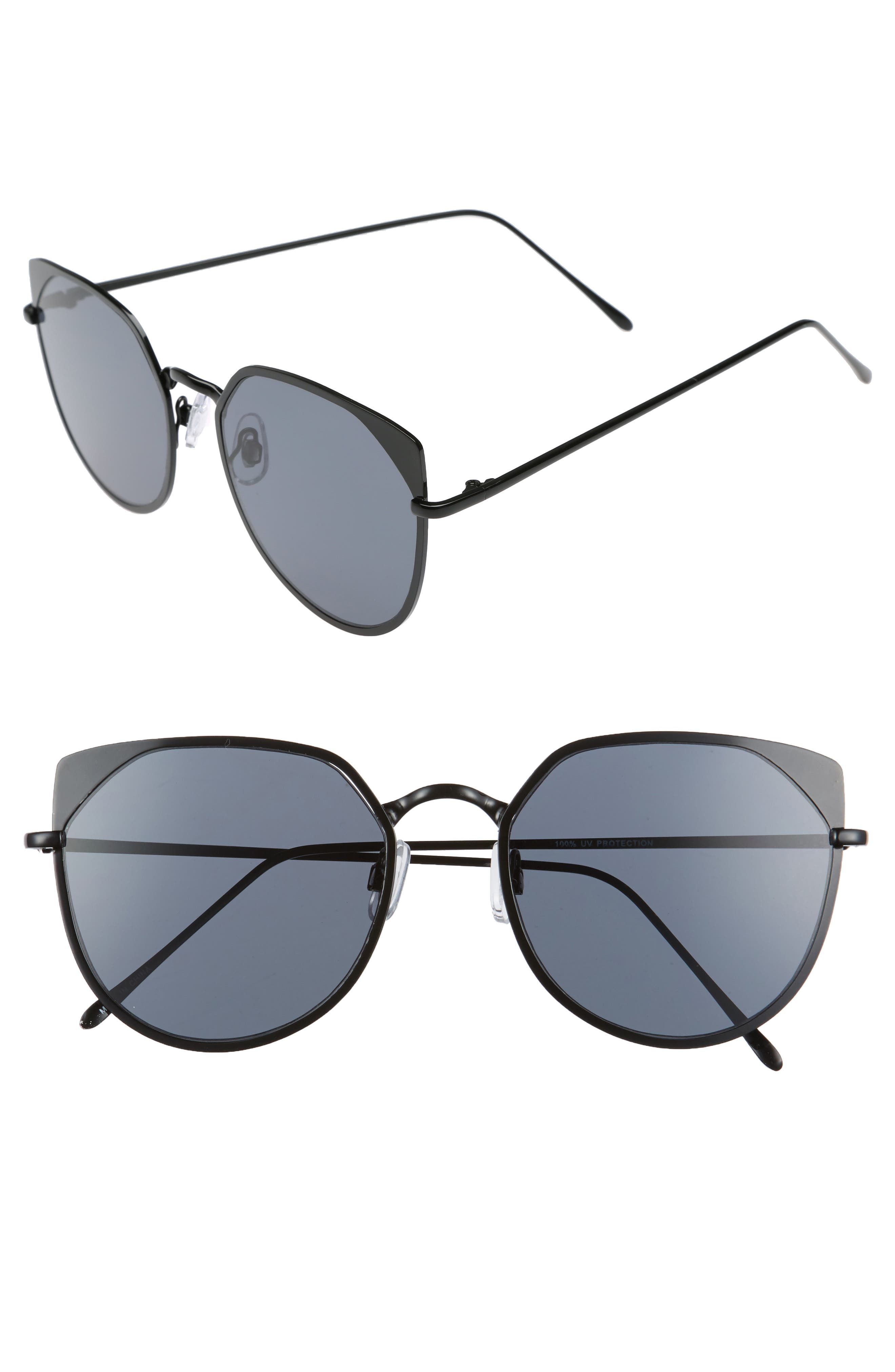 55mm Mirrored Cat Eye Sunglasses,                             Main thumbnail 1, color,                             005