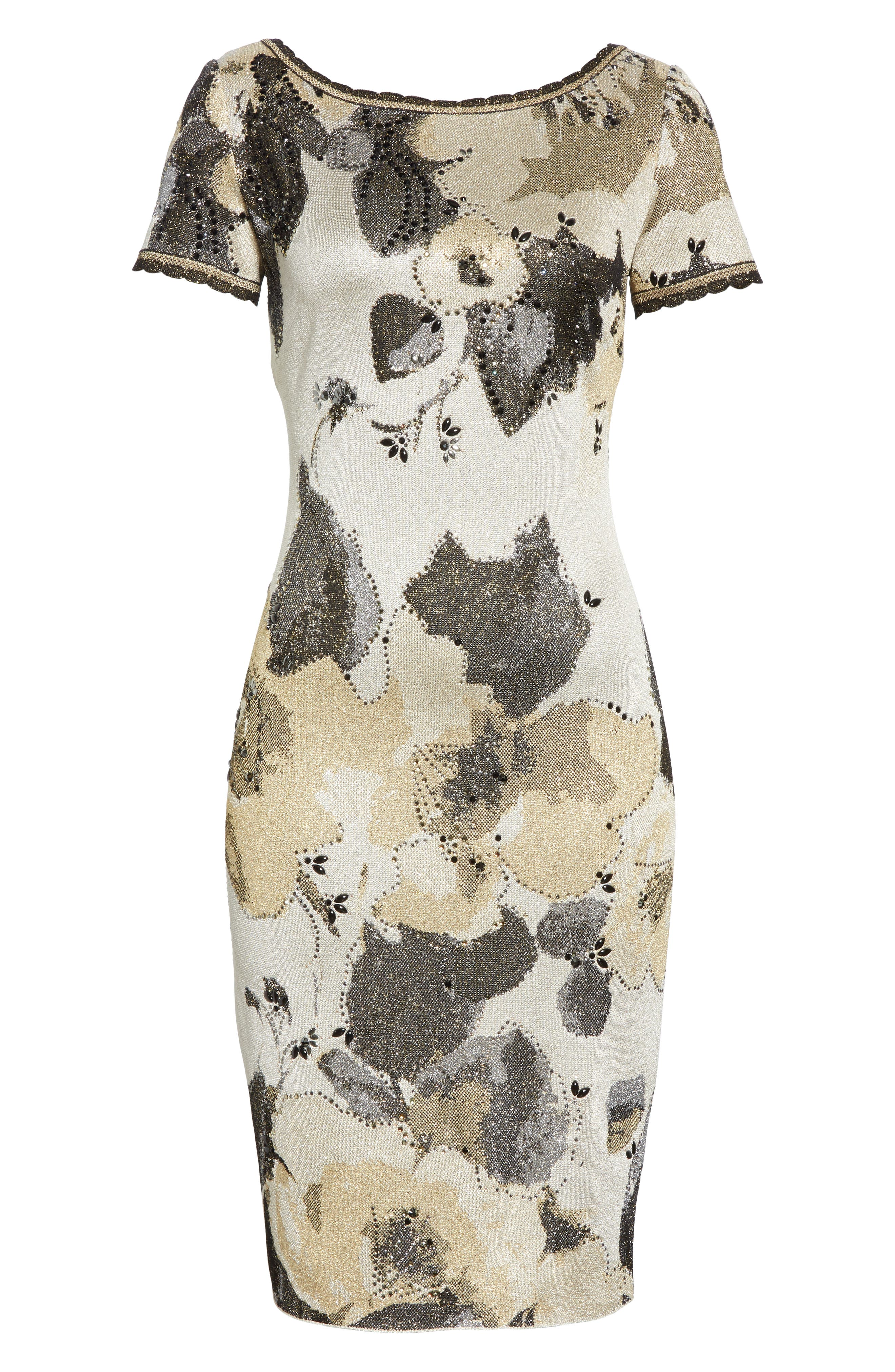 ST. JOHN COLLECTION,                             Gold Leaf Jacquard Knit Dress,                             Alternate thumbnail 7, color,                             METALLIC MULTI