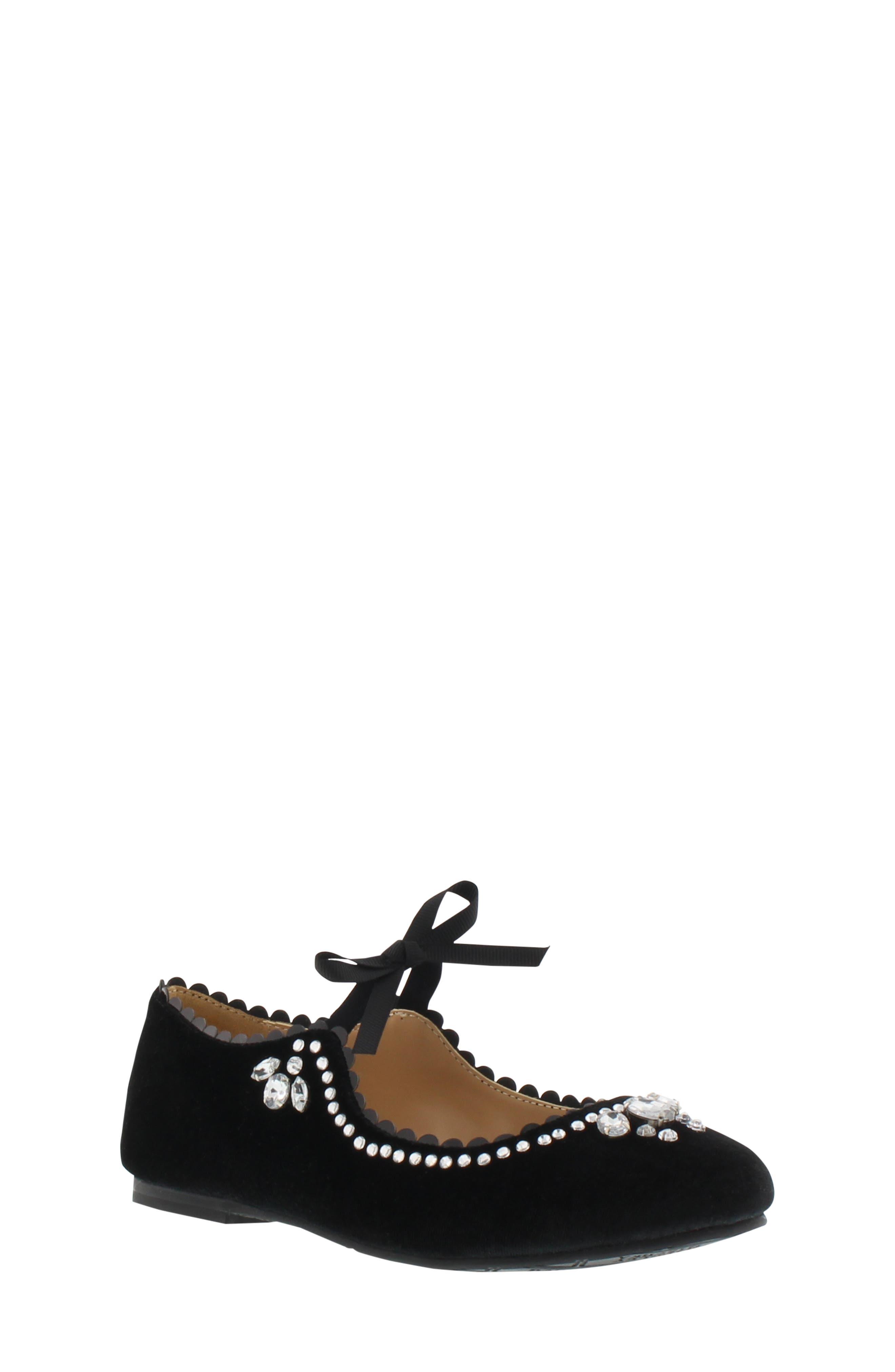 Badgley Mischka Amber Scallop Embellished Flat,                             Main thumbnail 1, color,                             BLACK
