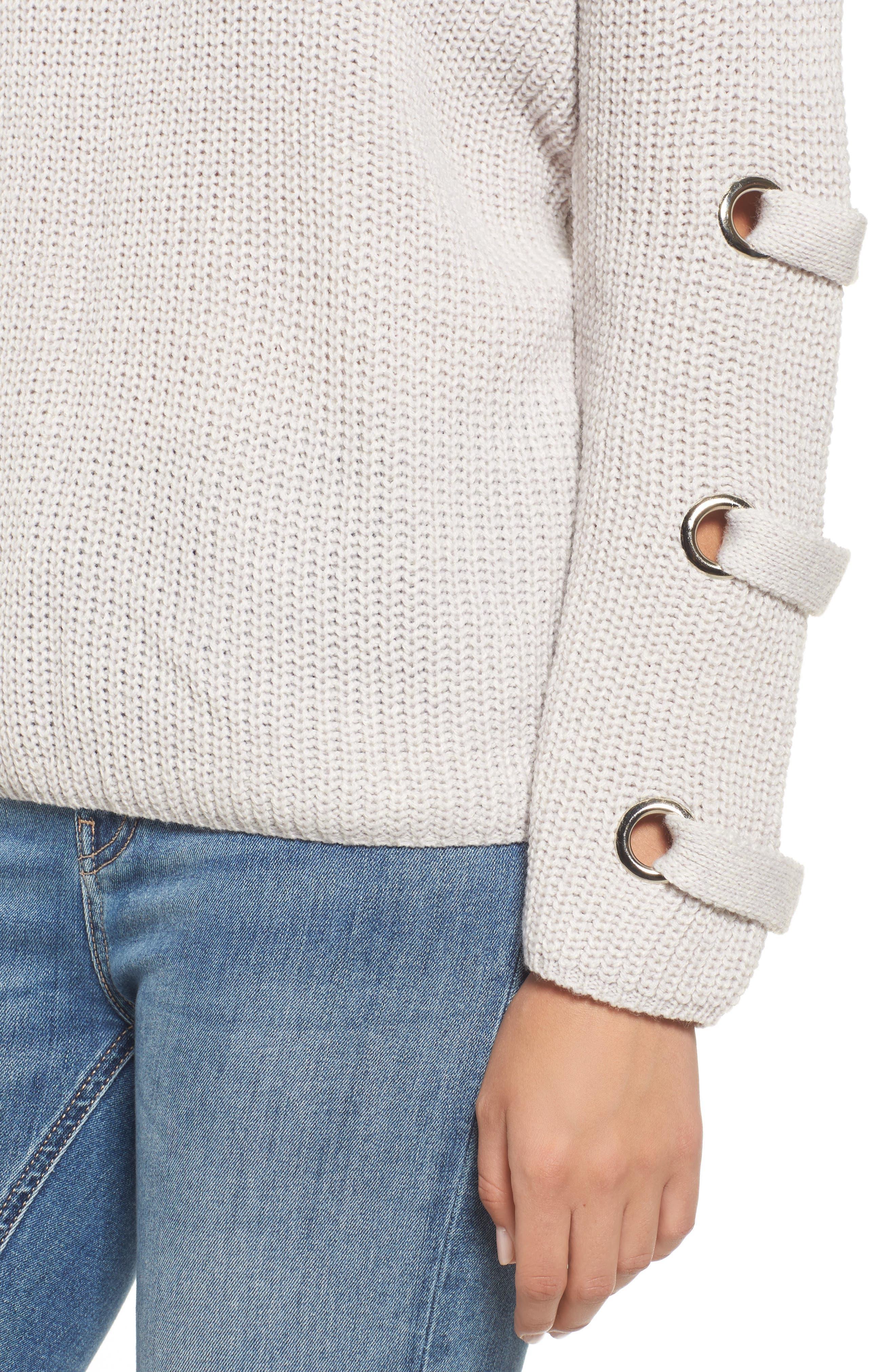 Grommet Sleeve Sweater,                             Alternate thumbnail 4, color,                             050
