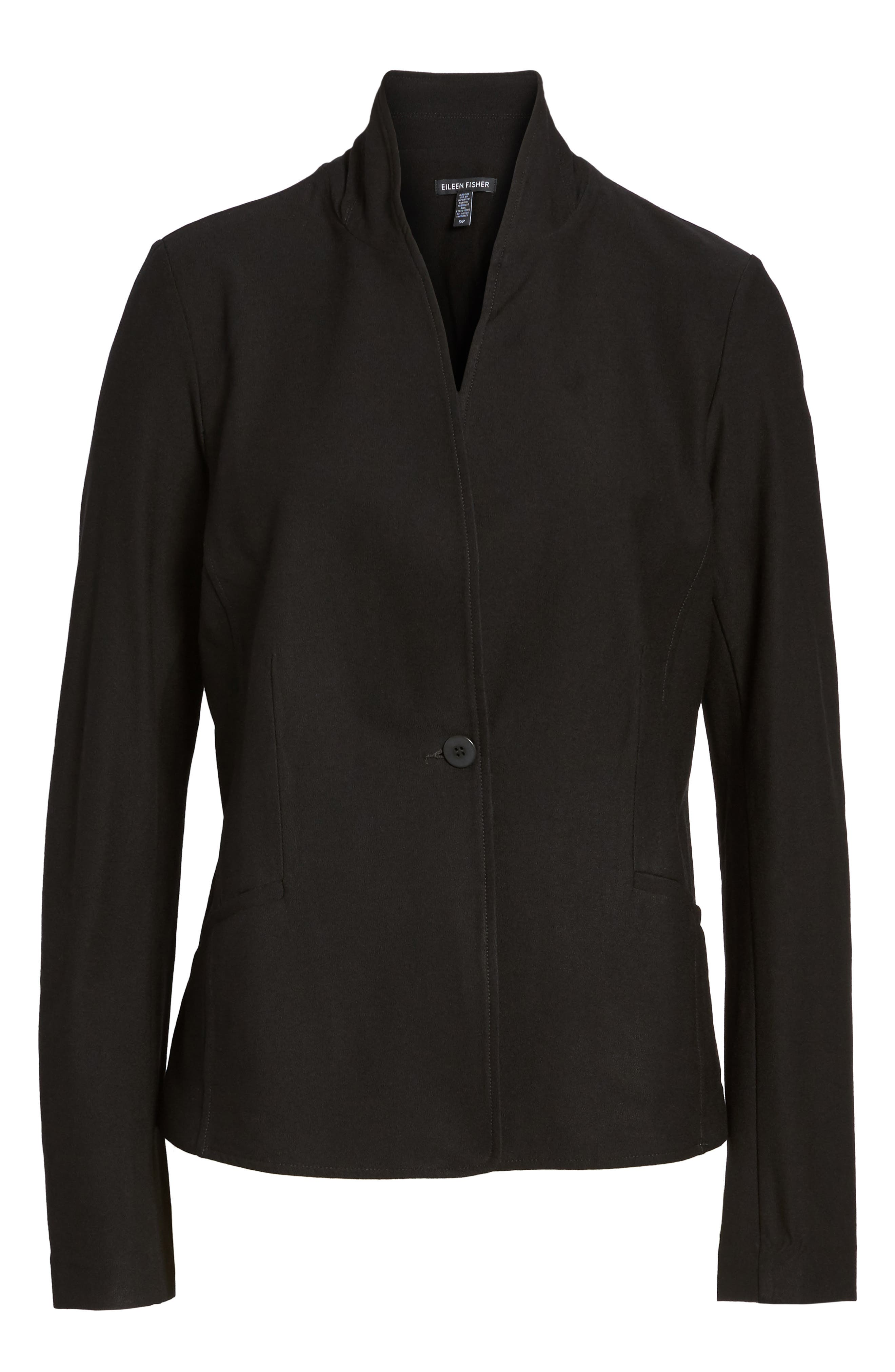 Washable Stretch Crepe Jacket,                             Alternate thumbnail 2, color,                             BLACK
