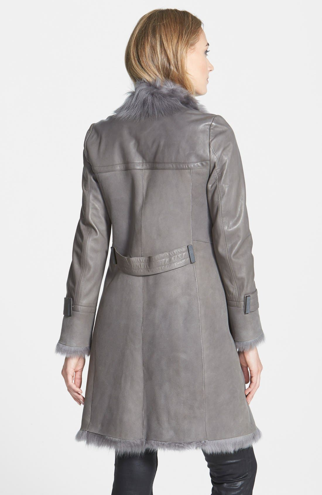 Genuine Toscana Shearling Wrap Coat,                             Alternate thumbnail 3, color,                             020