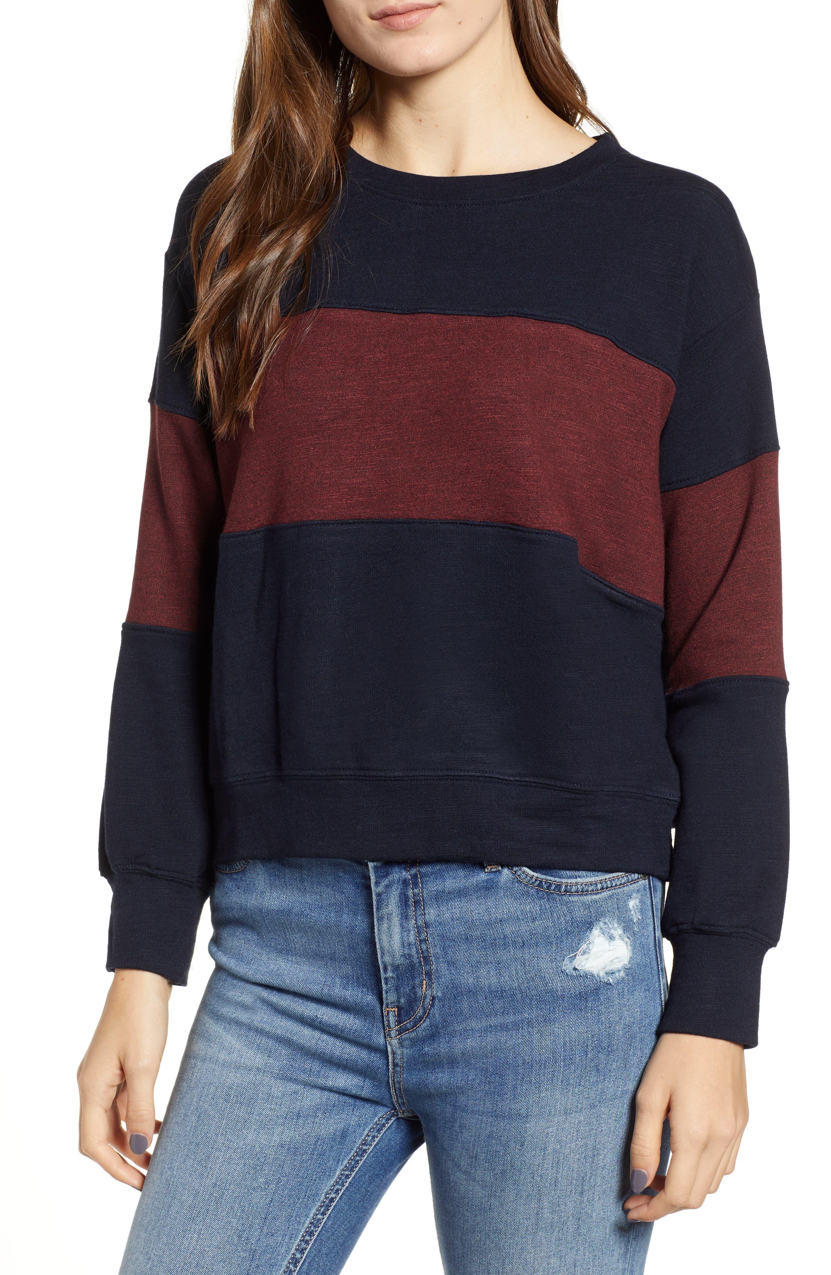 Colorblock Crop Sweatshirt,                             Main thumbnail 1, color,                             MIDNIGHT/ MARSALA