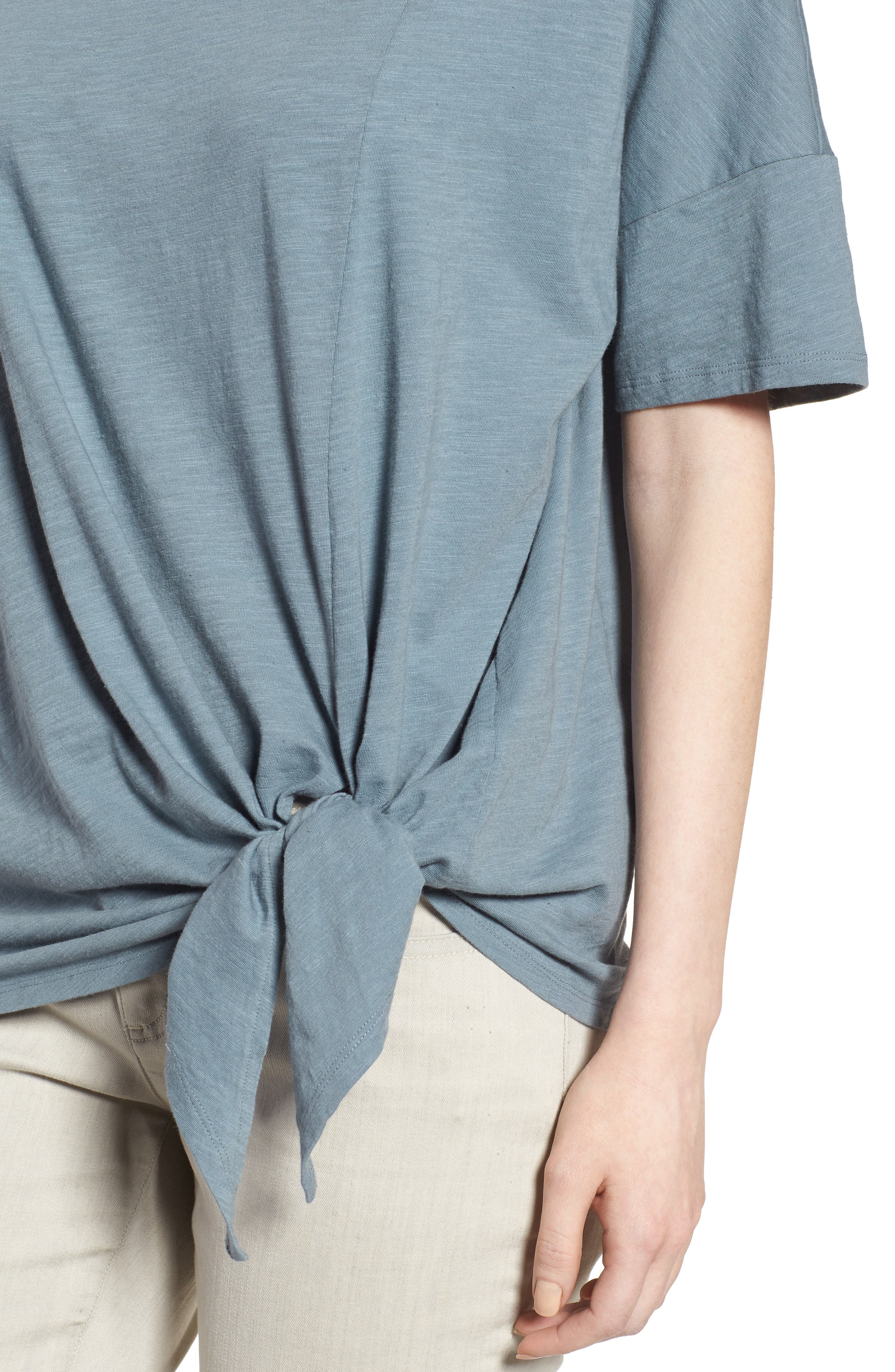Tie Hem Organic Cotton Tee,                             Alternate thumbnail 21, color,