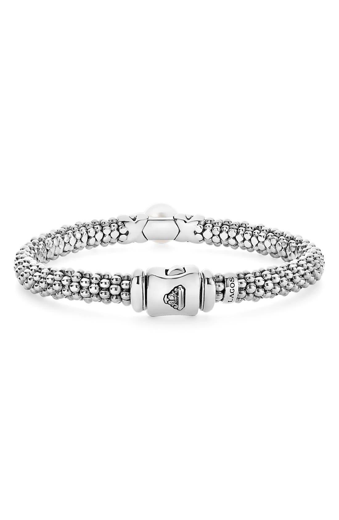 'Luna' Pearl Rope Bracelet,                             Alternate thumbnail 4, color,                             SILVER/ PEARL