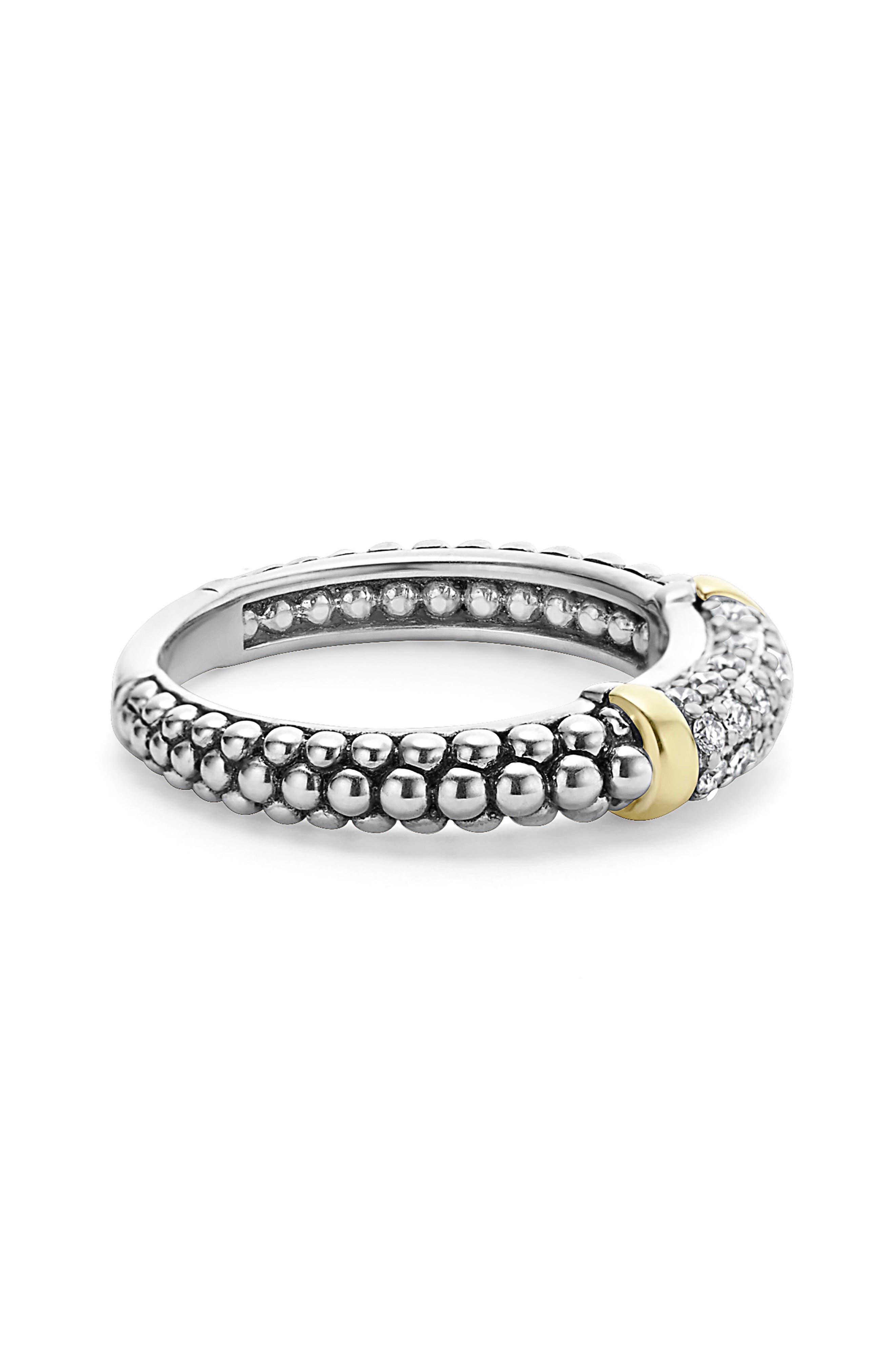 'Caviar' Diamond Band Ring,                             Alternate thumbnail 3, color,                             SILVER