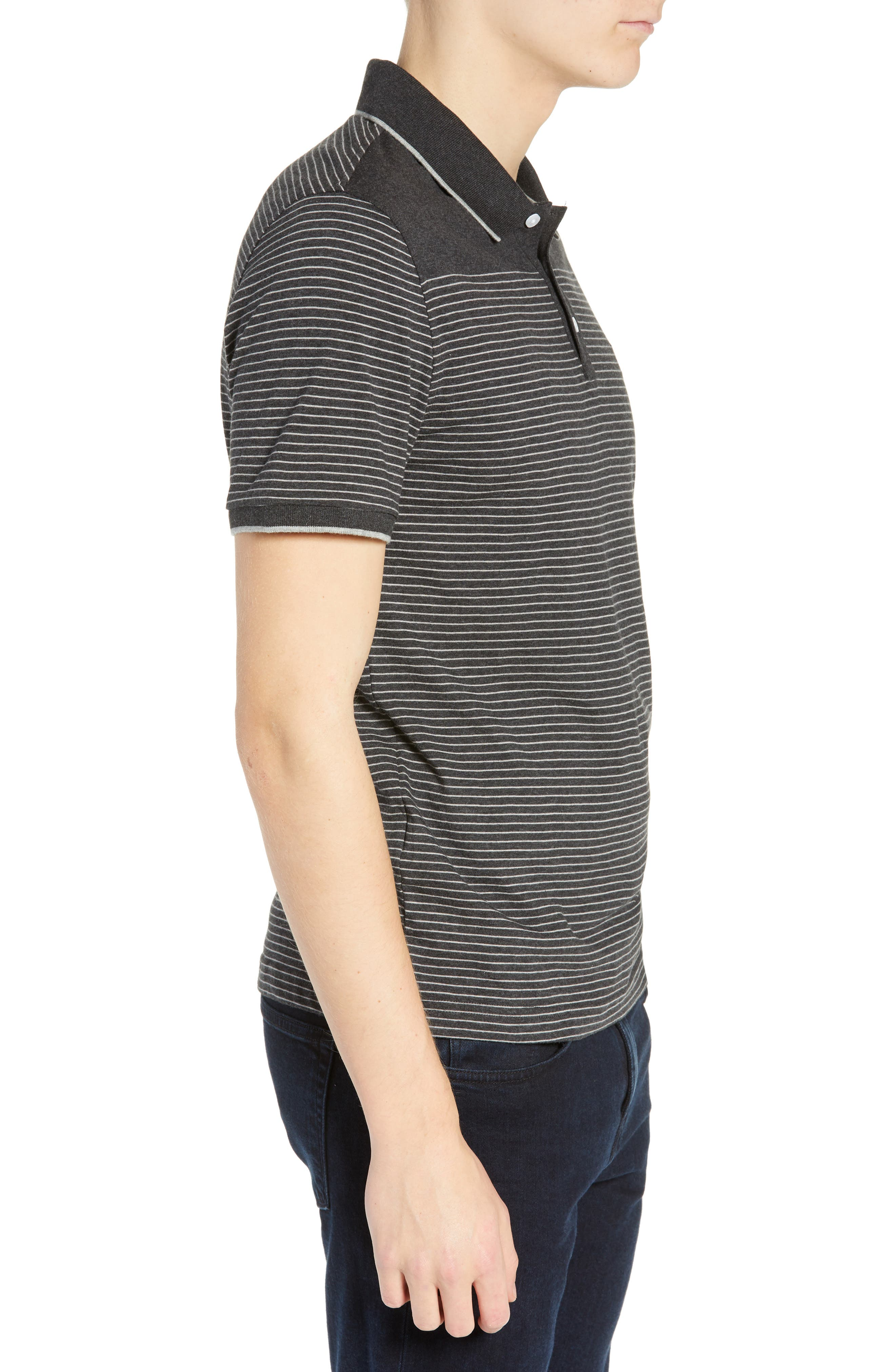 Tipped Feeder Stripe Polo,                             Alternate thumbnail 3, color,                             DARK CHARCOAL HEATHER