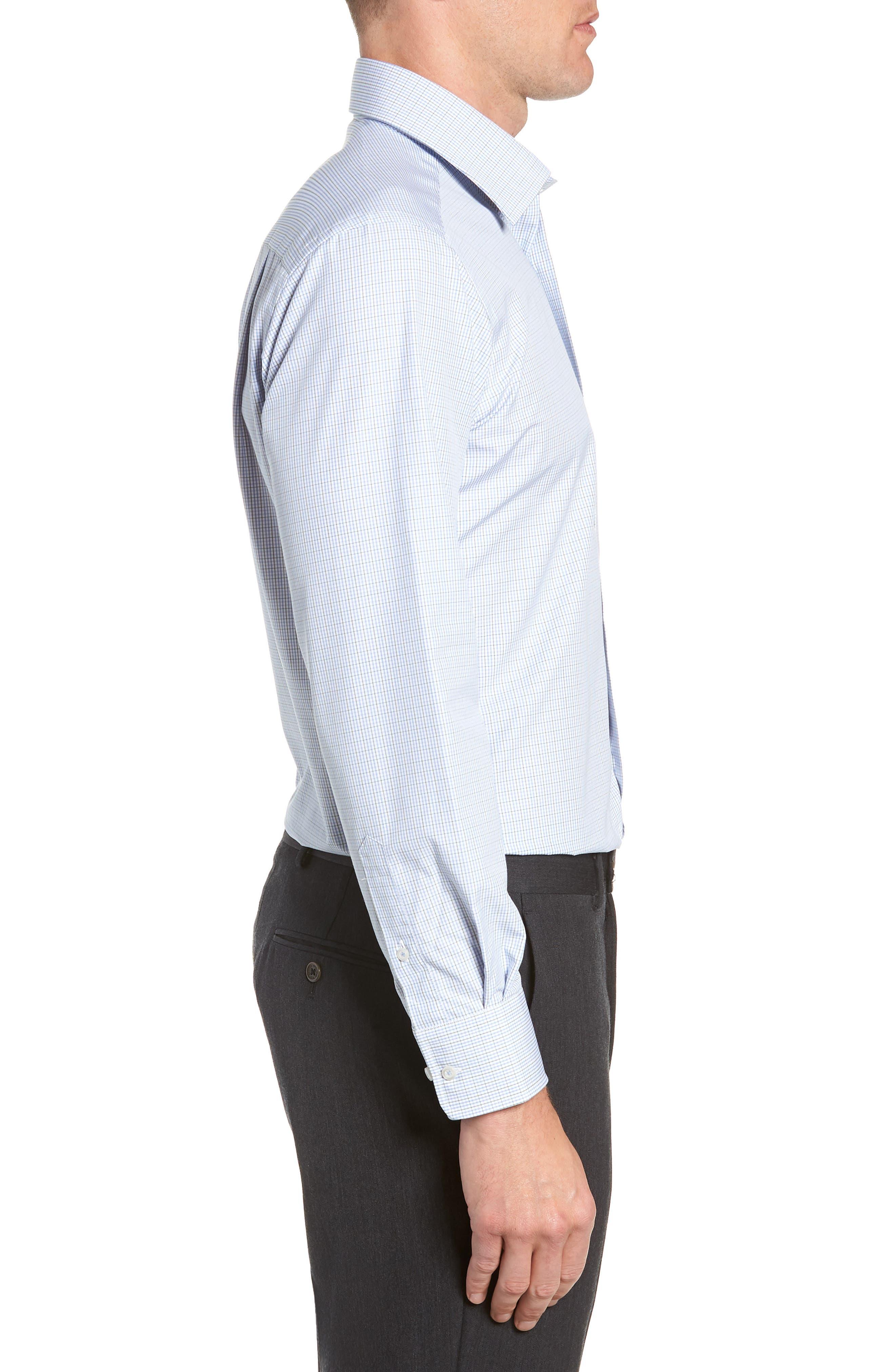 Trim Fit Check Dress Shirt,                             Alternate thumbnail 4, color,                             OLIVE