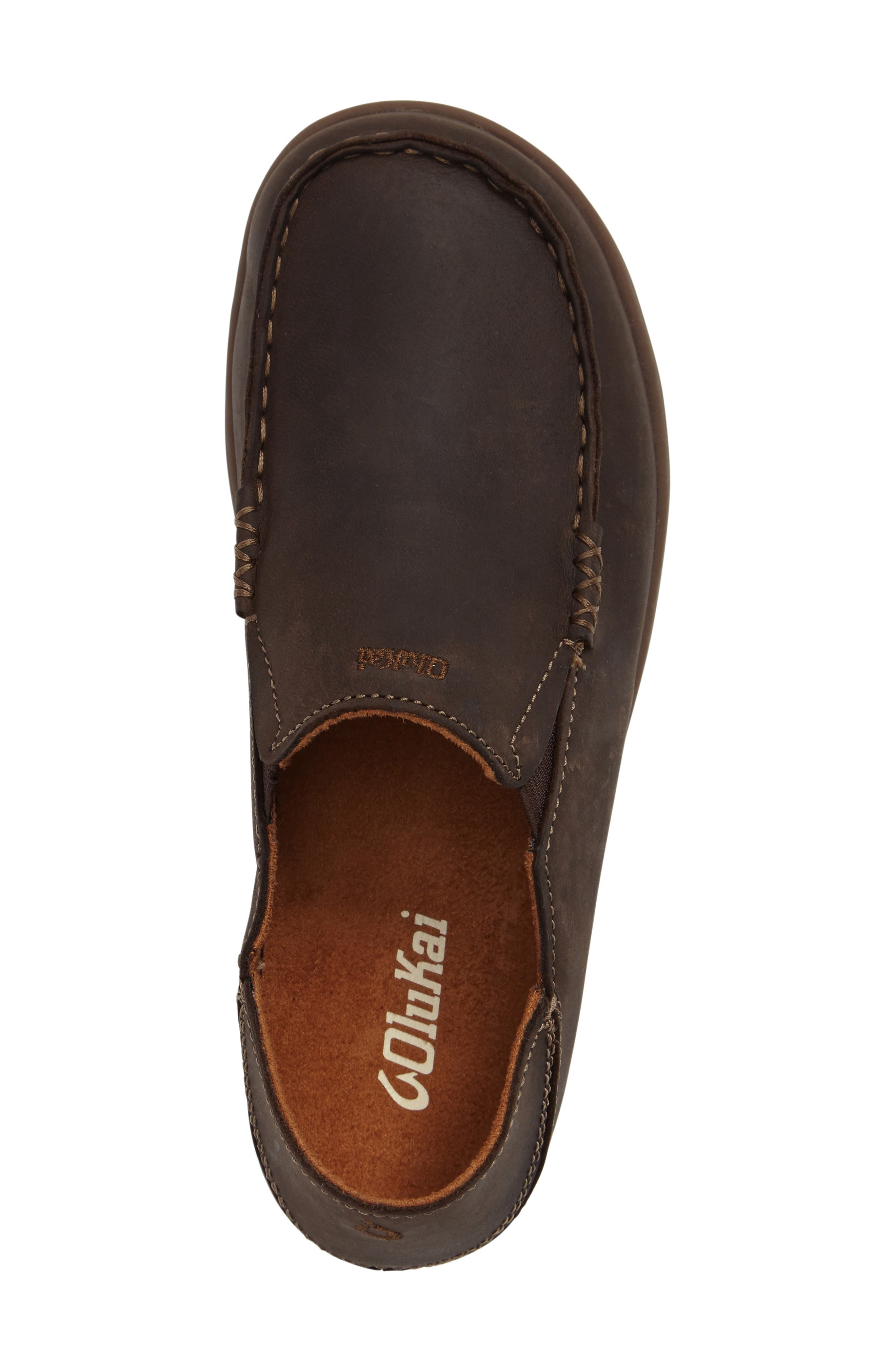 'Moloa' Water Resistant Slip-On,                             Alternate thumbnail 3, color,                             DARK WOOD/ MUSTANG