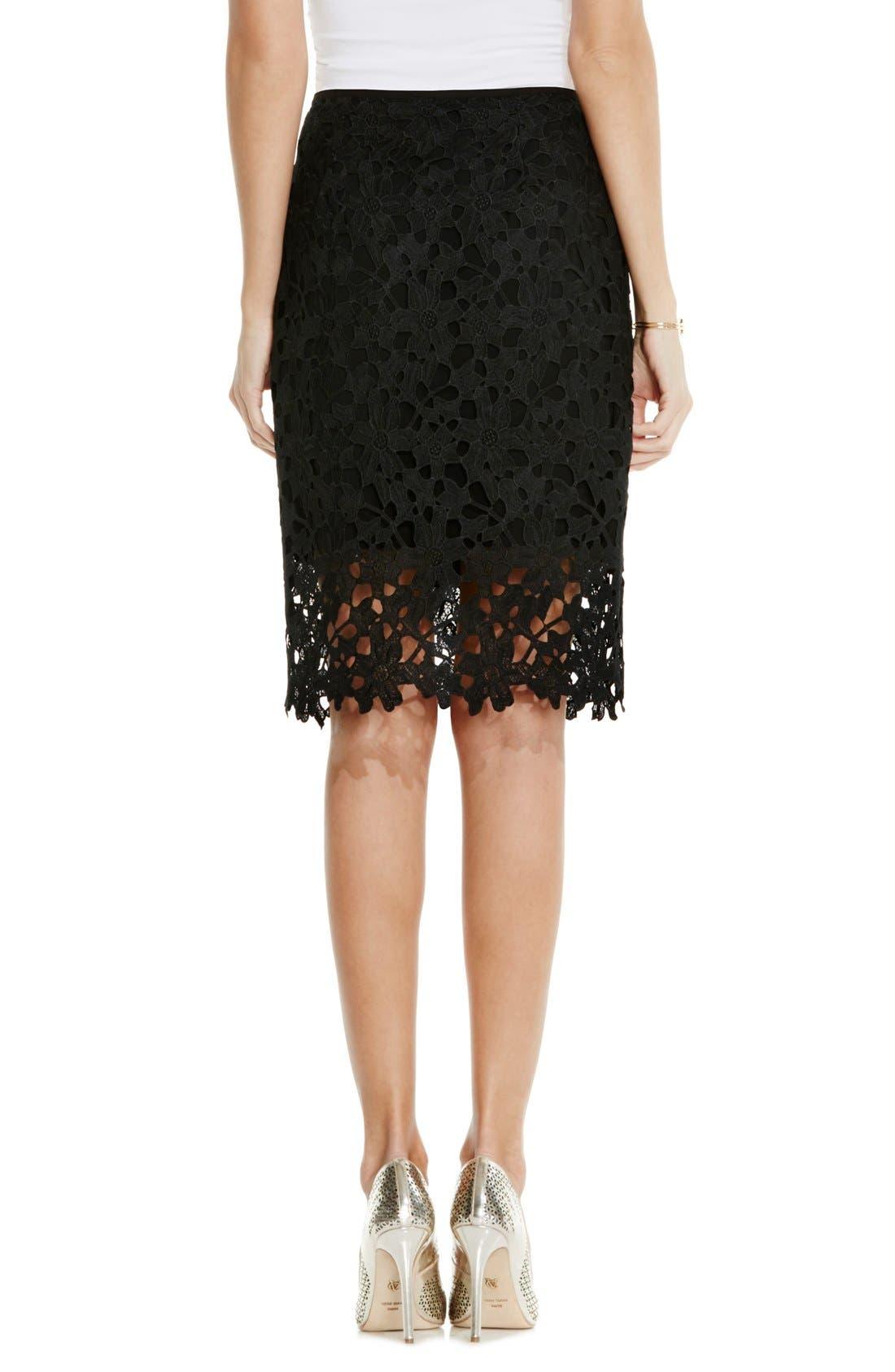 Floral Lace Pencil Skirt,                             Alternate thumbnail 2, color,                             001
