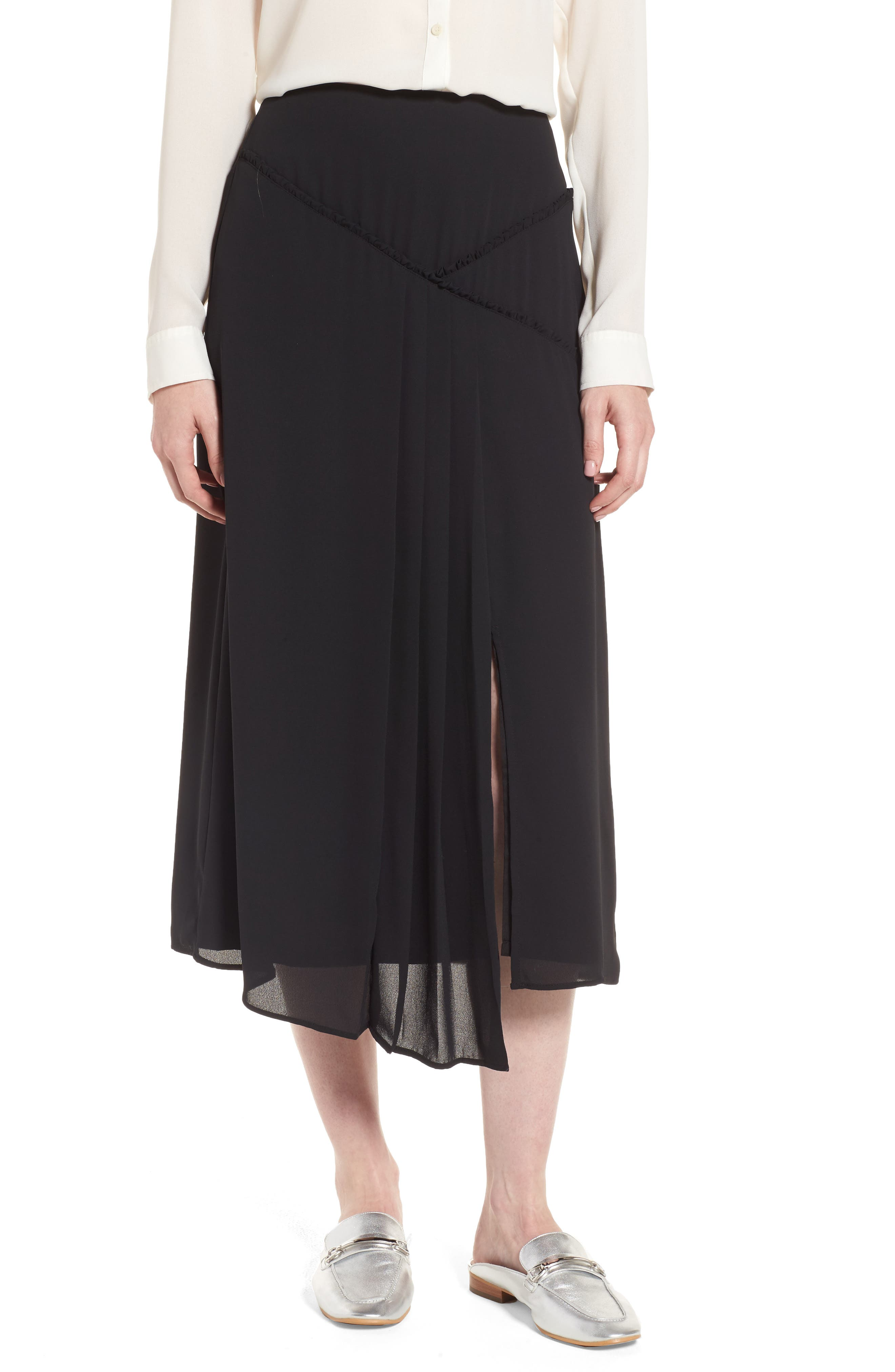 Asymmetrical Ruffle Skirt,                             Main thumbnail 1, color,                             001