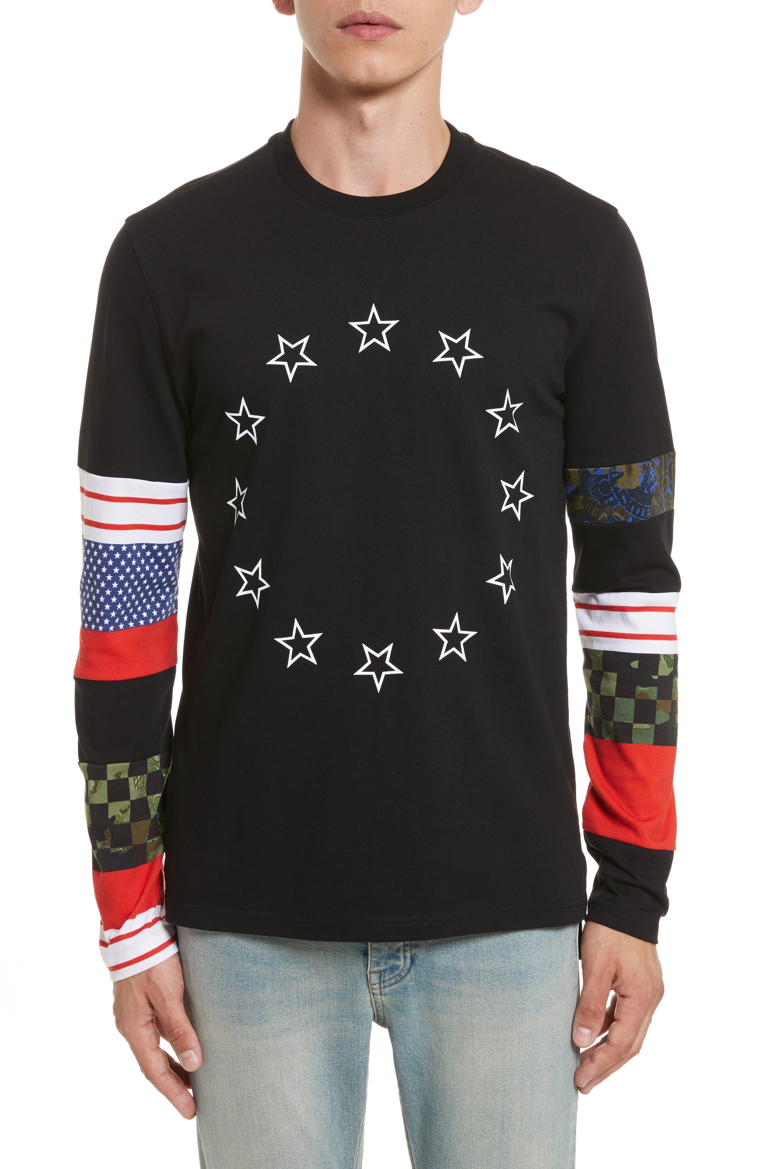 Cuban Fit Circle Star Print T-Shirt,                             Main thumbnail 1, color,                             001