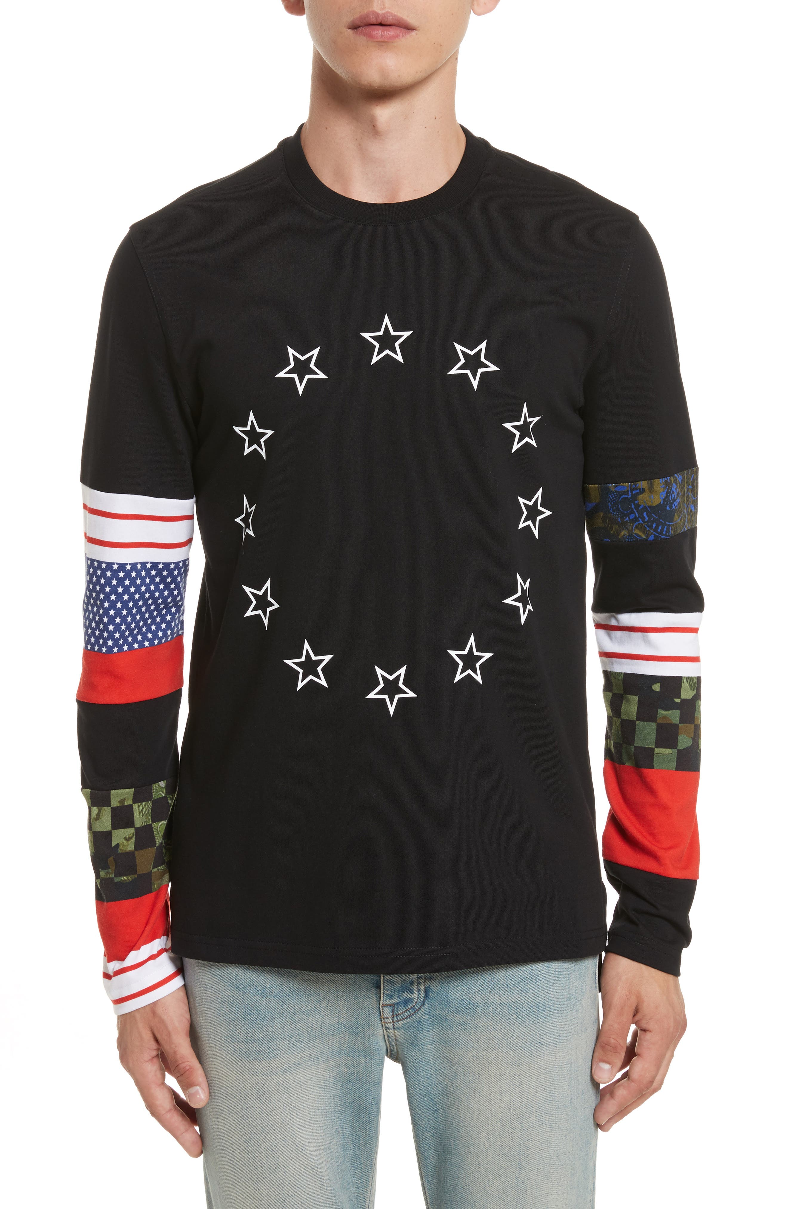 Cuban Fit Circle Star Print T-Shirt,                         Main,                         color, 001