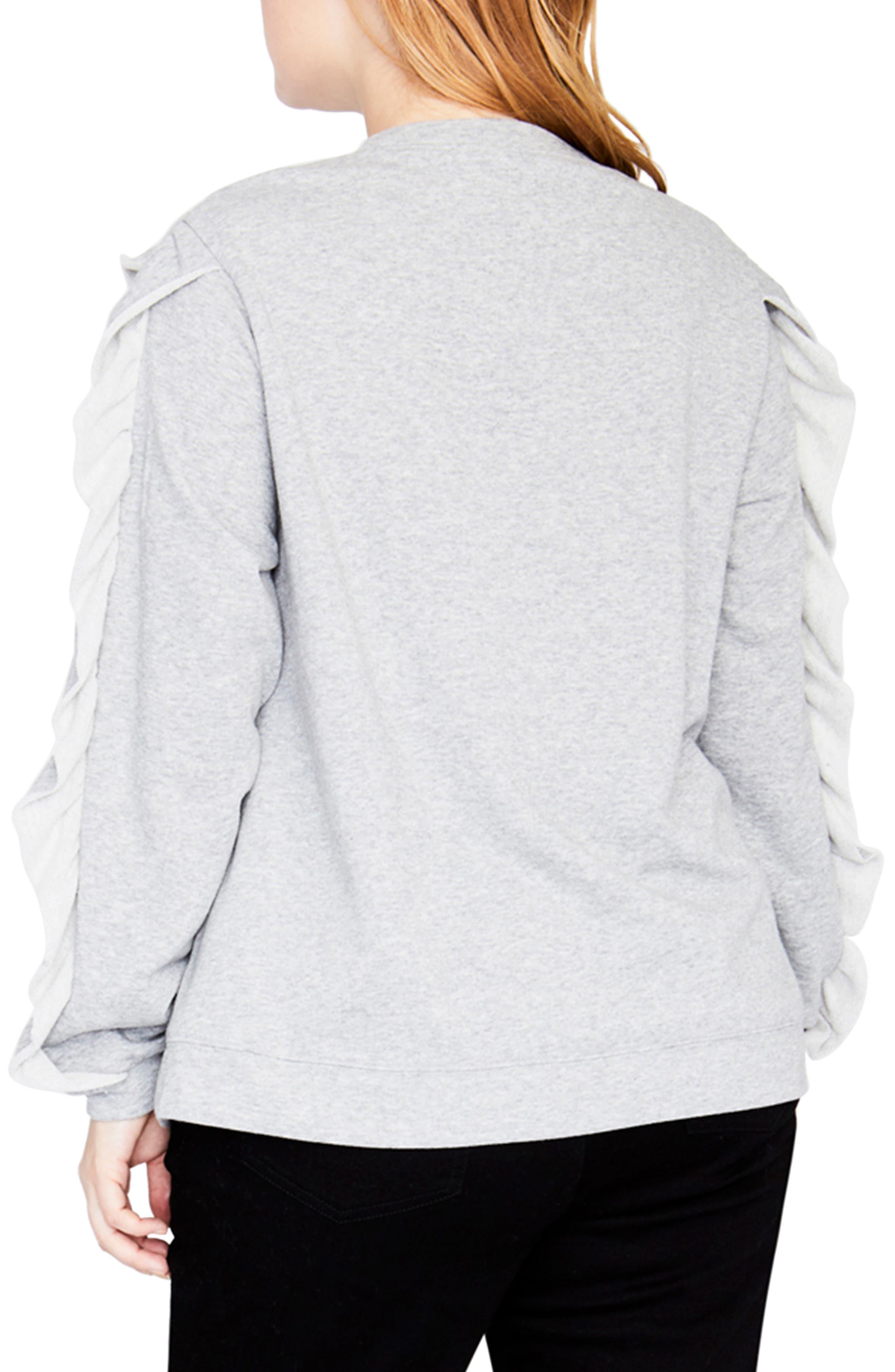 Ruffle Sweatshirt,                             Alternate thumbnail 2, color,                             HEATHER GREY