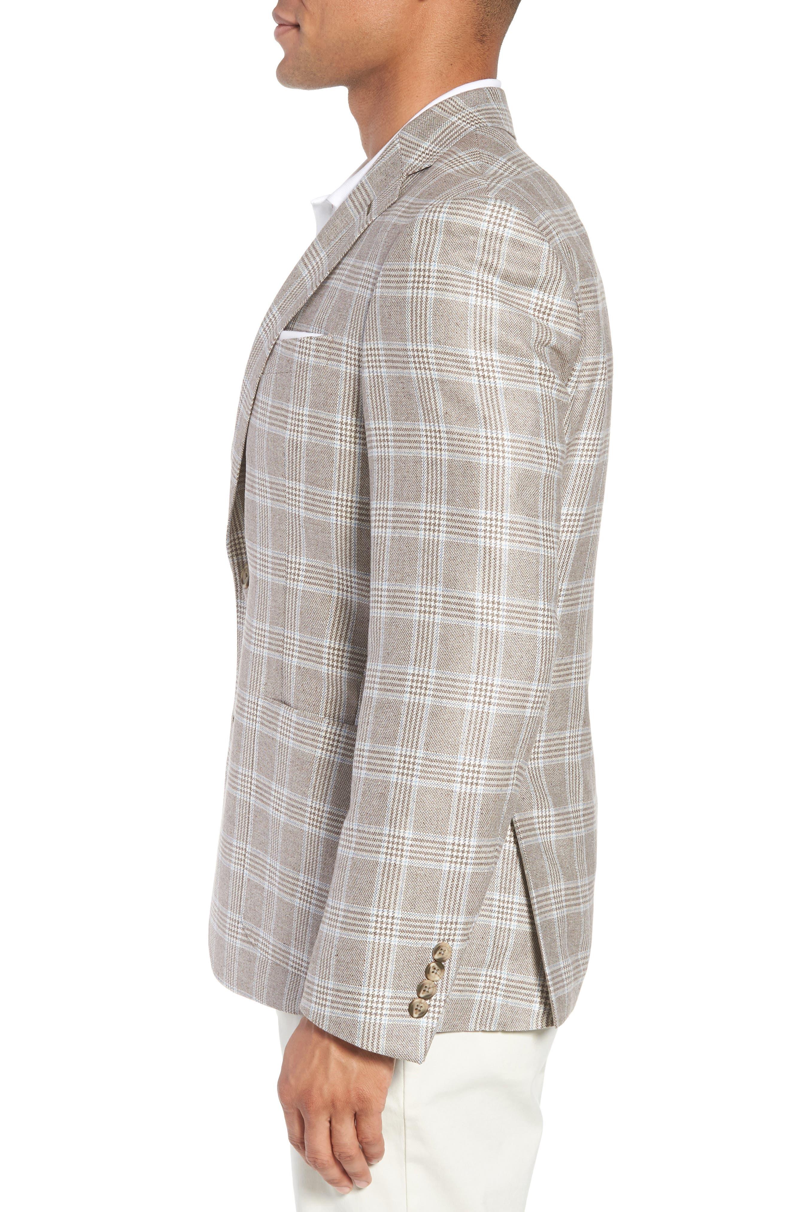 Trim Fit Plaid Silk & Wool Sport Coat,                             Alternate thumbnail 3, color,                             235