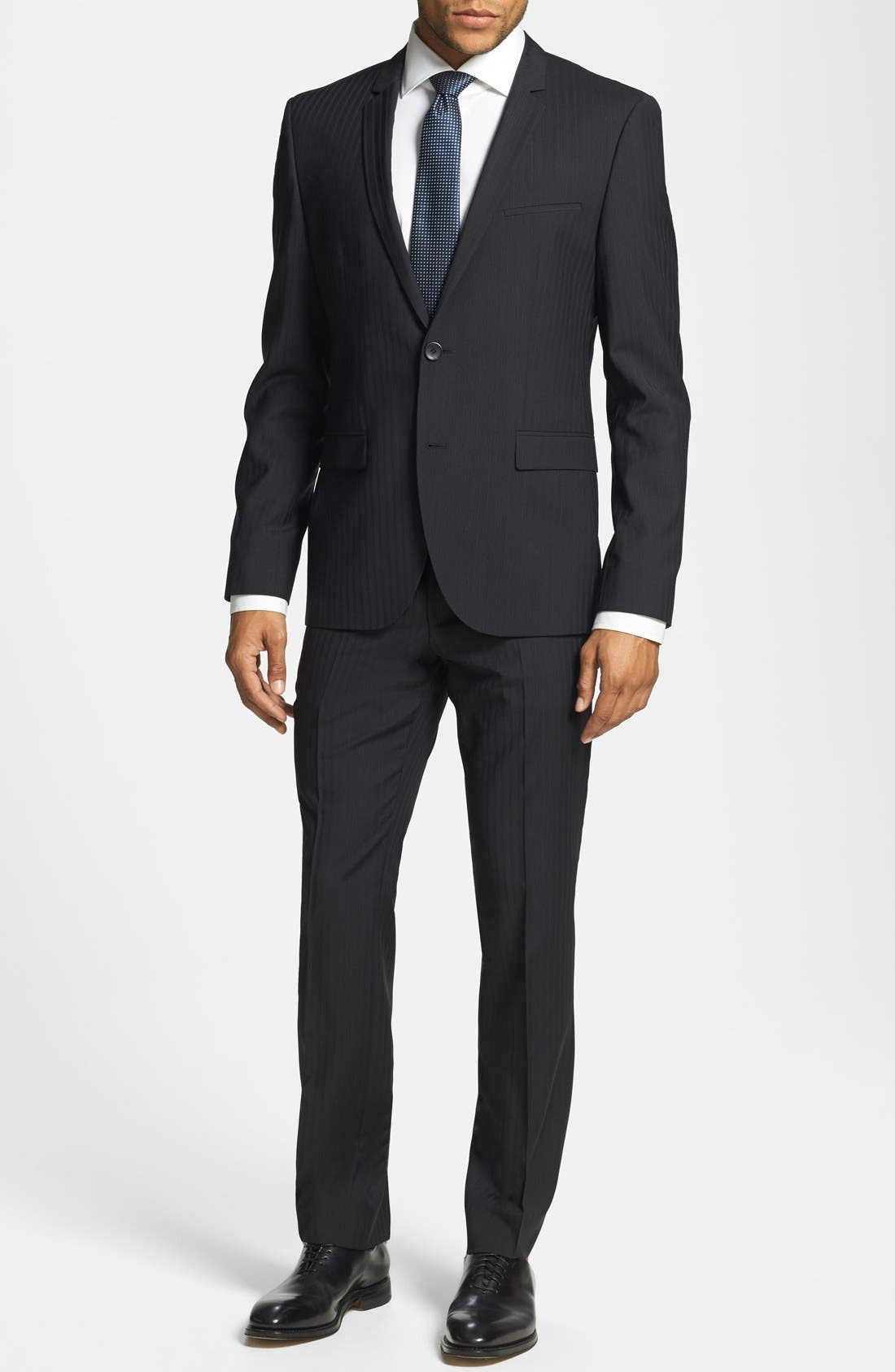 BOSS HUGO BOSS 'Adris/Heibo' Extra Trim Fit Stripe Suit, Main, color, 001