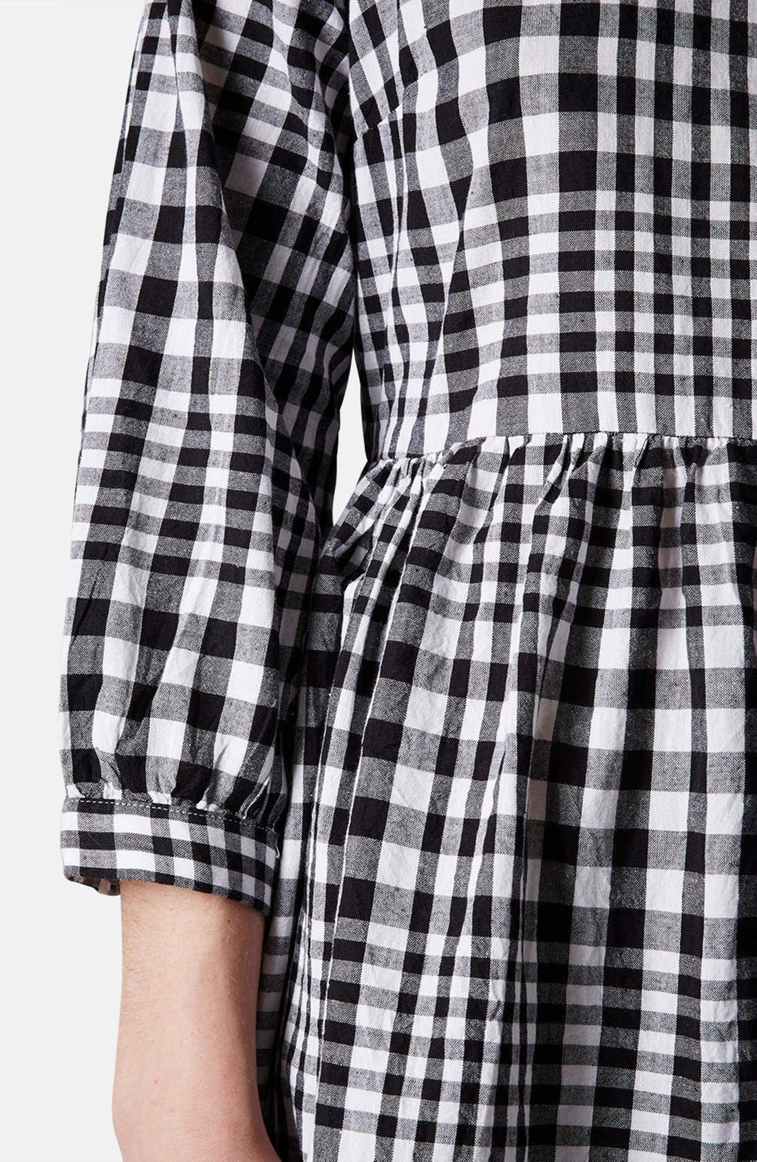 Gingham Cotton Smock Dress,                             Alternate thumbnail 5, color,                             002