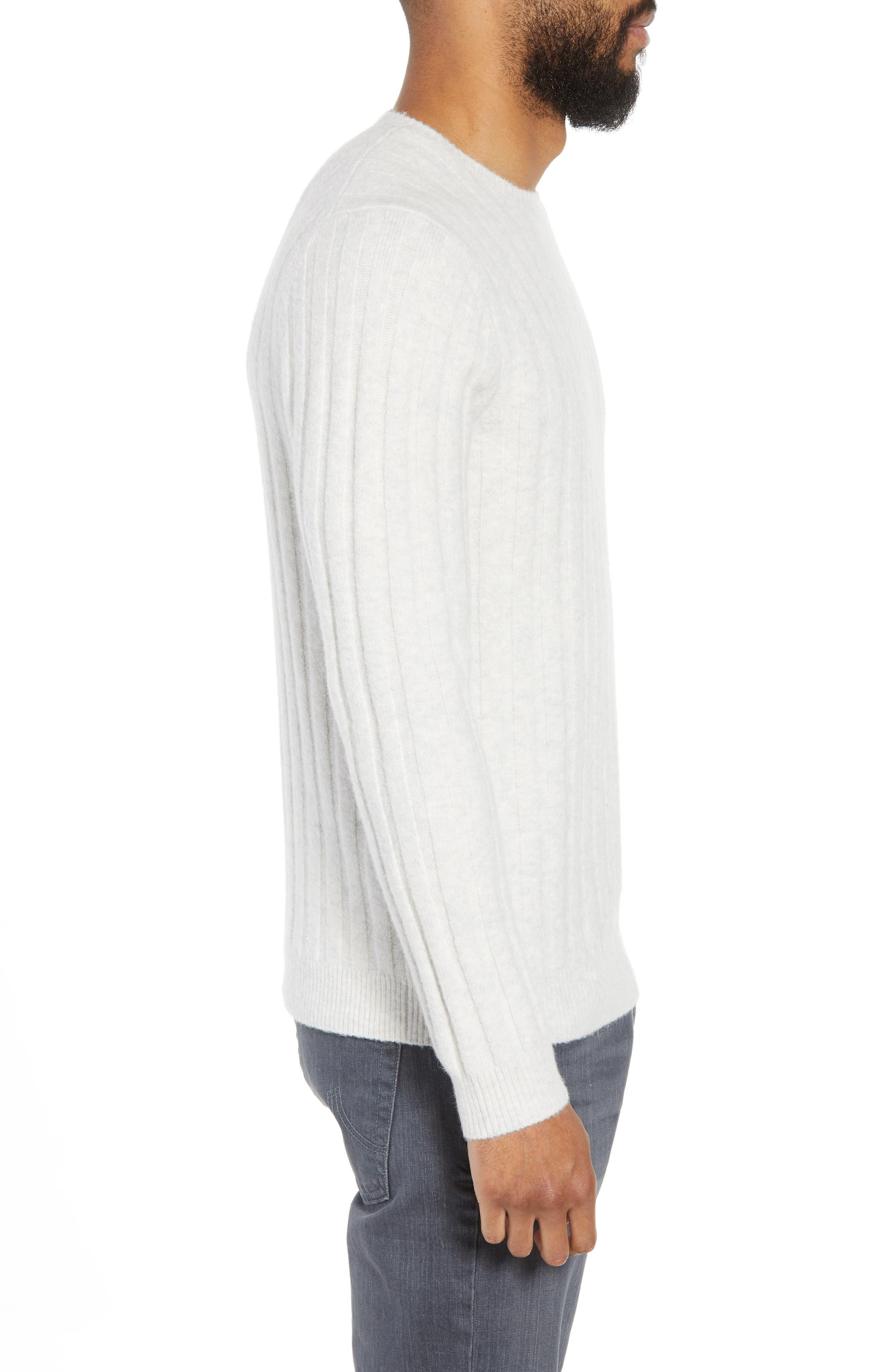 Rib Crewneck Sweater,                             Alternate thumbnail 3, color,                             GREY SILK HEATHER