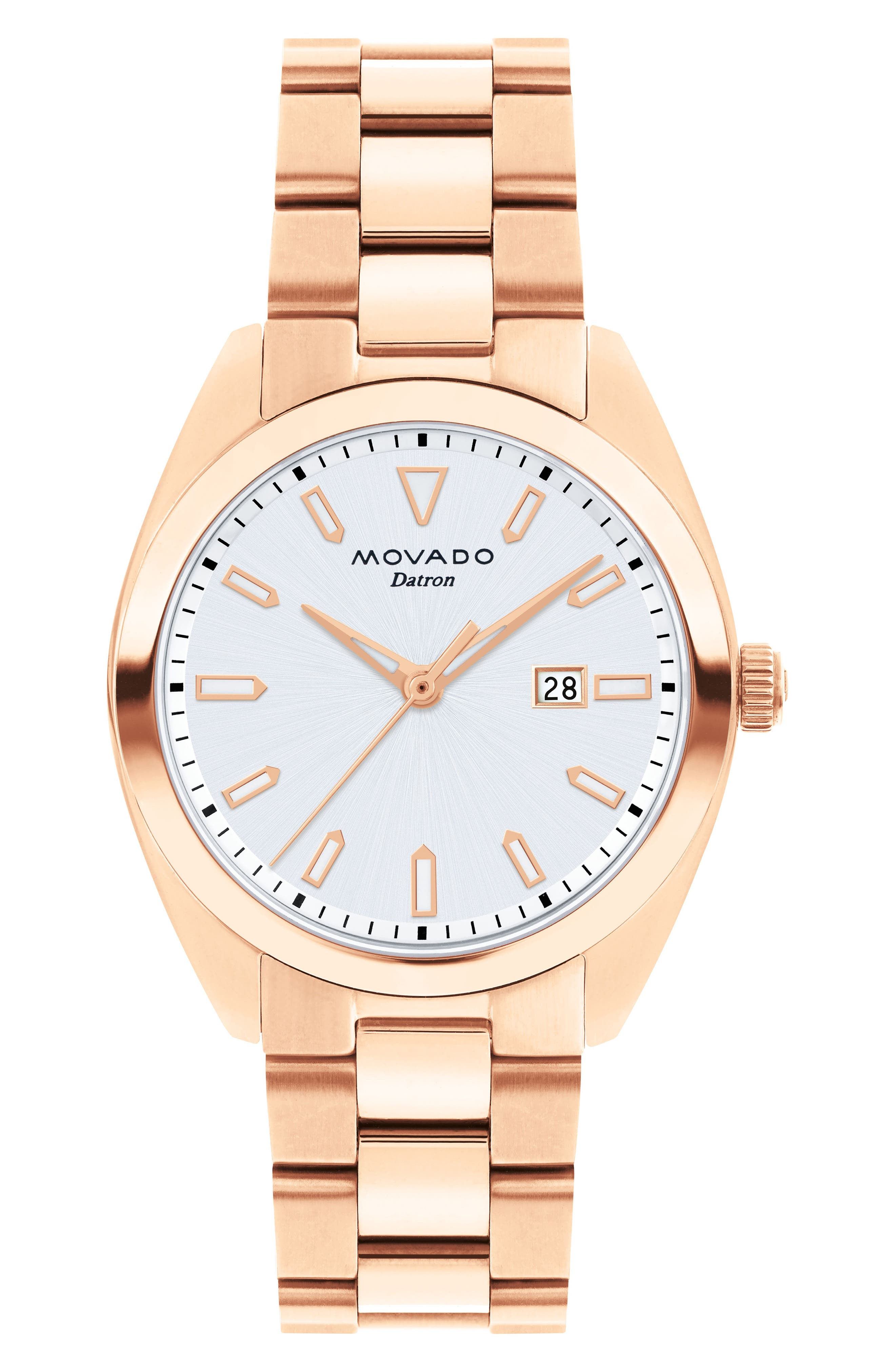 MOVADO,                             Heritage Datron Bracelet Watch, 31mm,                             Main thumbnail 1, color,                             ROSE GOLD/ SILVER/ ROSE GOLD