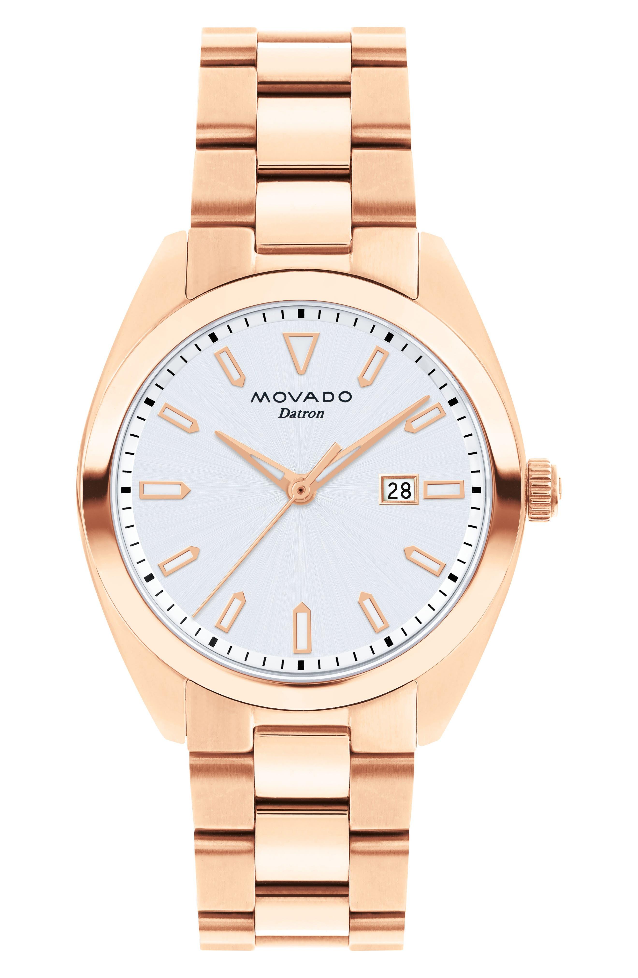 MOVADO Heritage Datron Bracelet Watch, 31mm, Main, color, ROSE GOLD/ SILVER/ ROSE GOLD