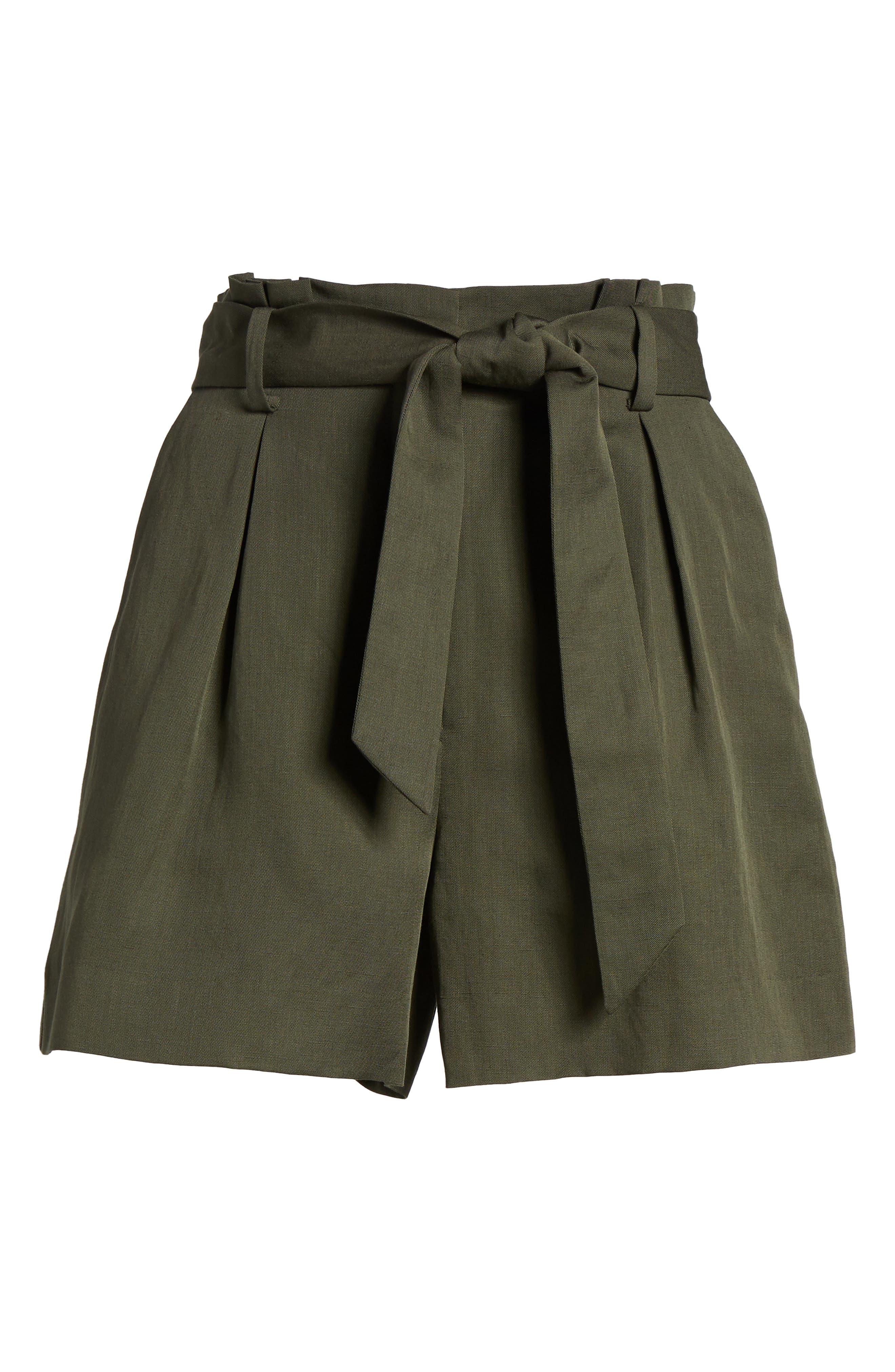 Paperbag Waist Linen & Cotton Blend Shorts,                             Alternate thumbnail 6, color,                             301