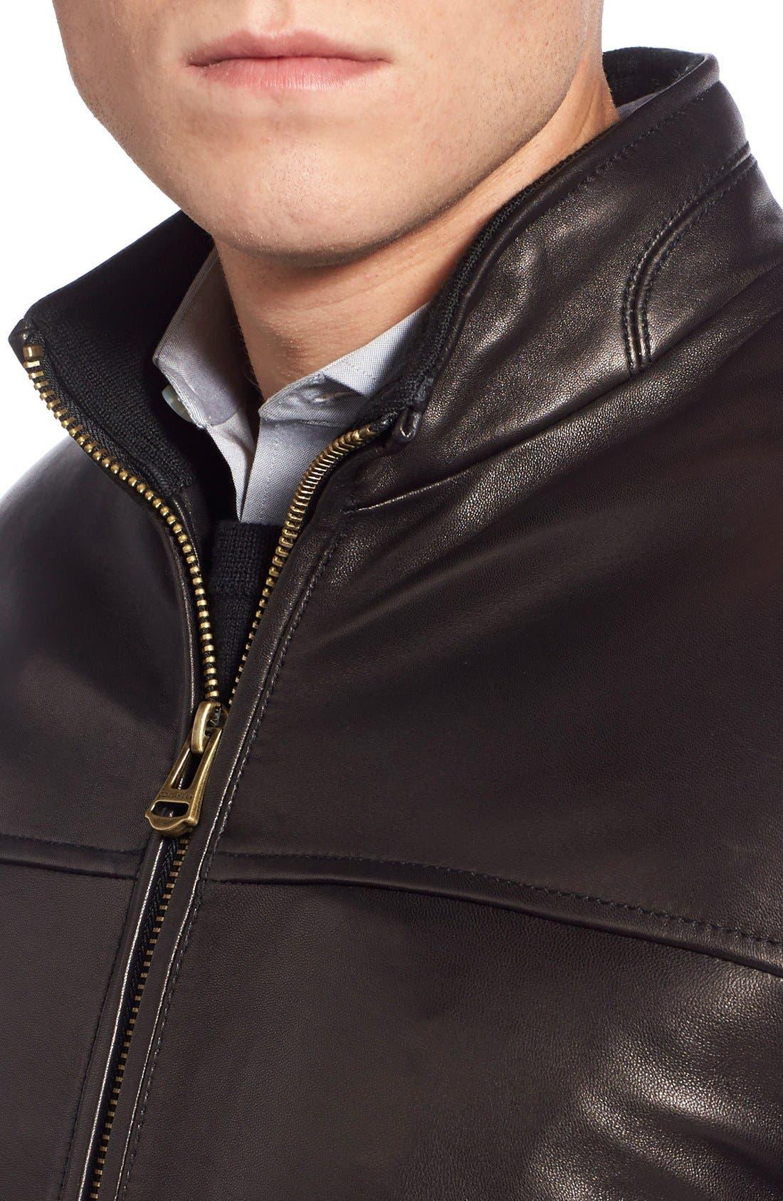 Lambskin Leather Moto Jacket,                             Alternate thumbnail 5, color,                             001