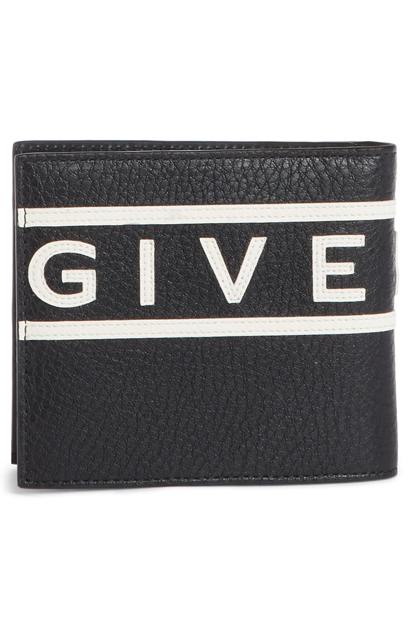 GIVENCHY,                             Logo Calfskin Leather Wallet,                             Alternate thumbnail 3, color,                             BLACK