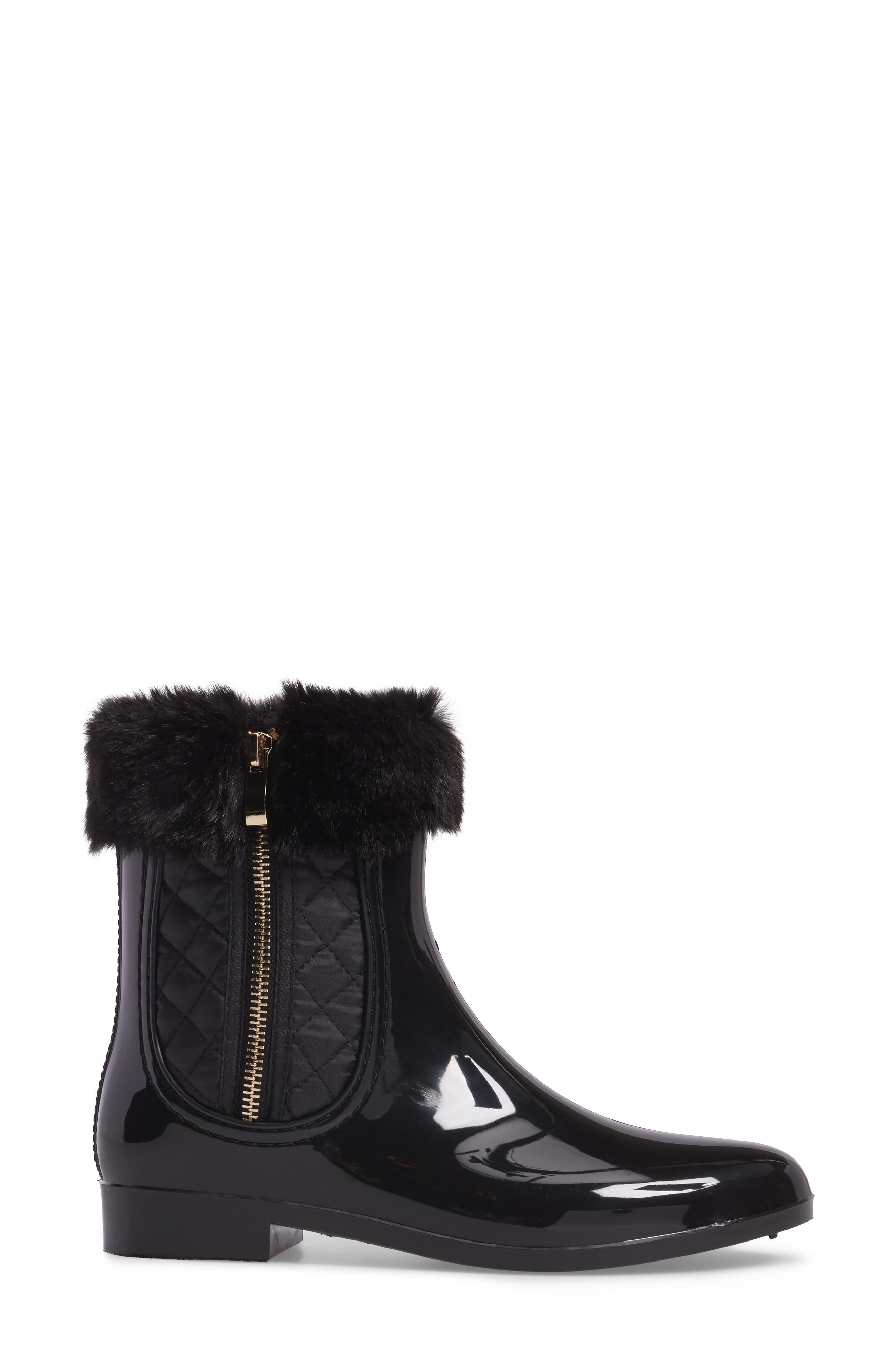 Glasgow Faux Fur Cuff Boot,                             Alternate thumbnail 3, color,                             BLACK