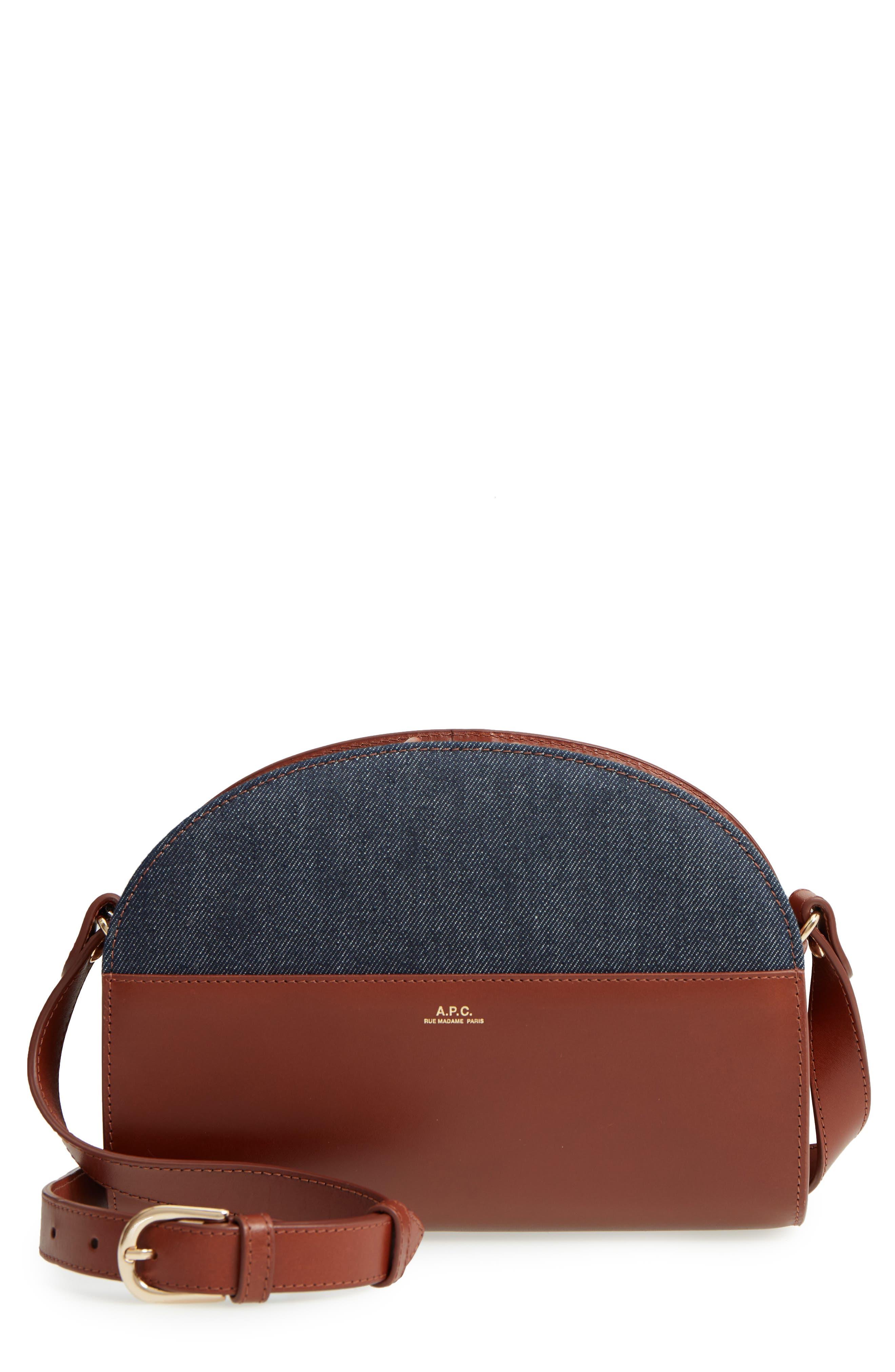Sac Demilune Leather & Denim Crossbody Bag,                             Main thumbnail 1, color,                             NOISETTE CAD