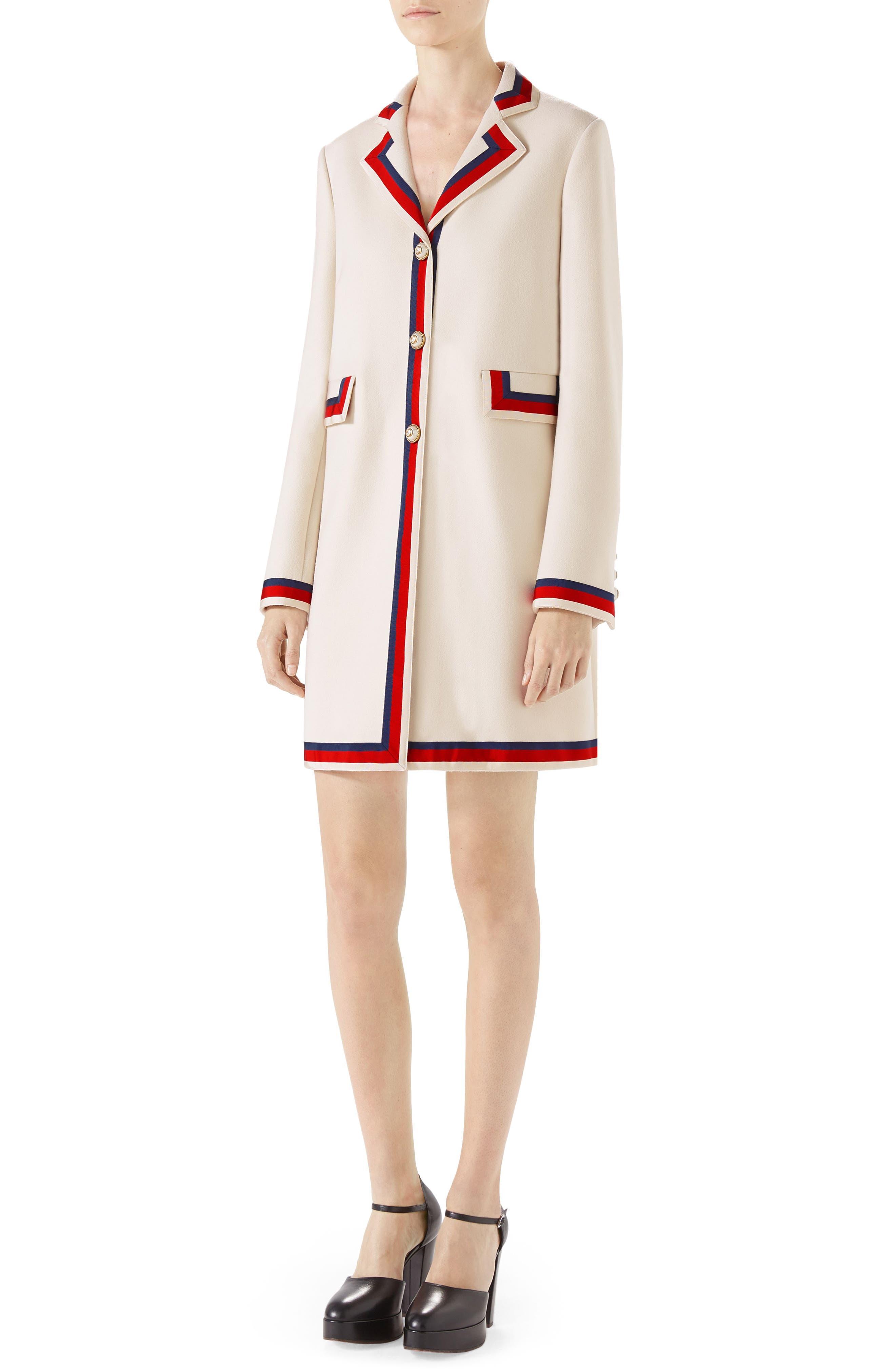 Ribbon Trim Wool Coat,                         Main,                         color, GARDENIA