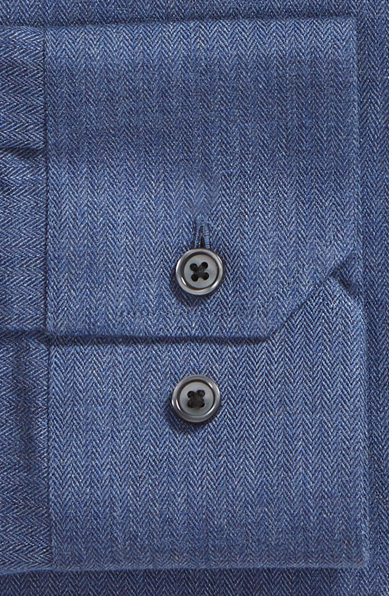 Trim Fit Herringbone Dress Shirt,                             Alternate thumbnail 6, color,                             BLUE CANAL