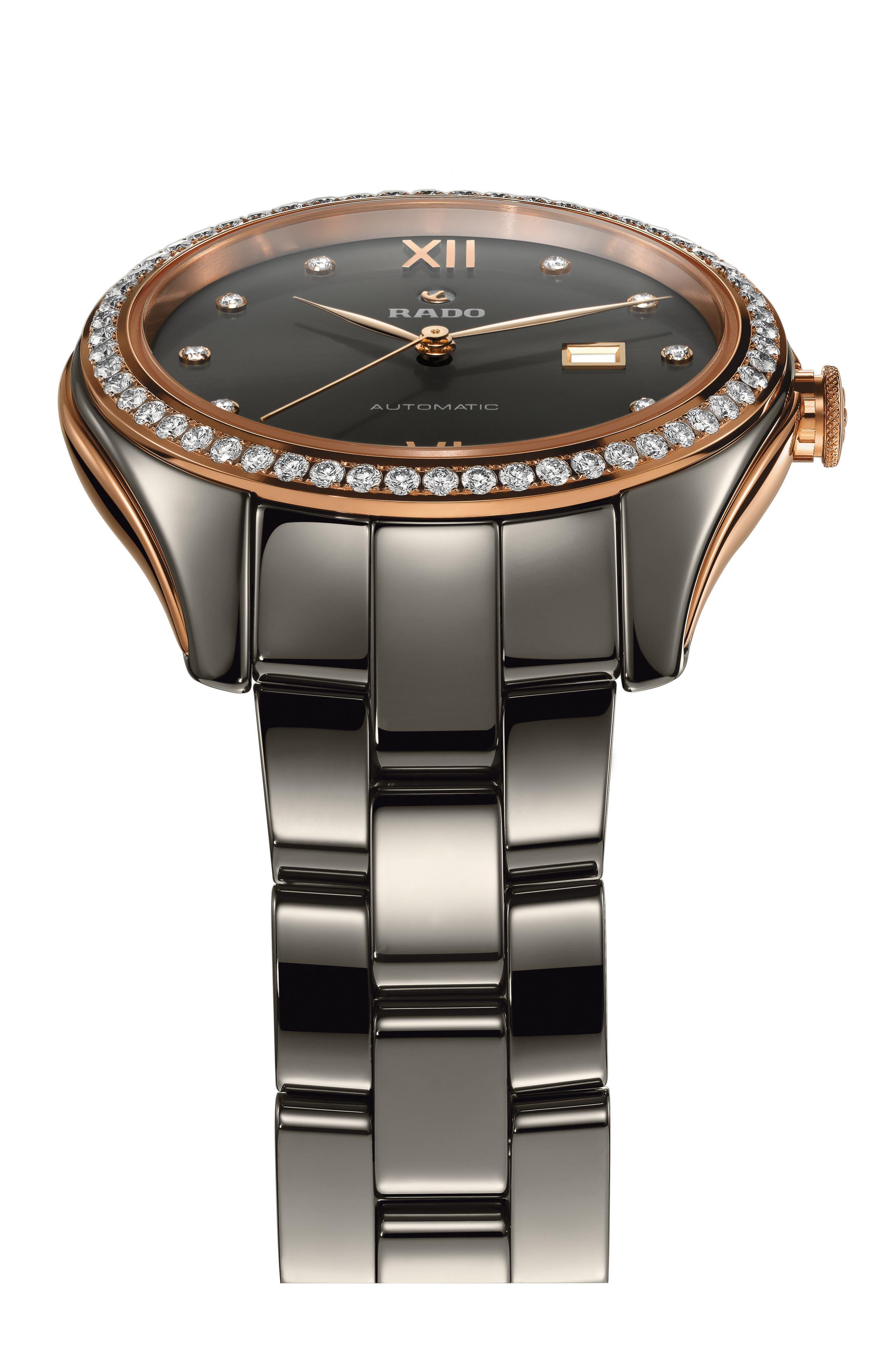 HyperChrome Automatic Diamond Ceramic Bracelet Watch, 36mm,                             Alternate thumbnail 3, color,                             PLASMA/ ROSE GOLD
