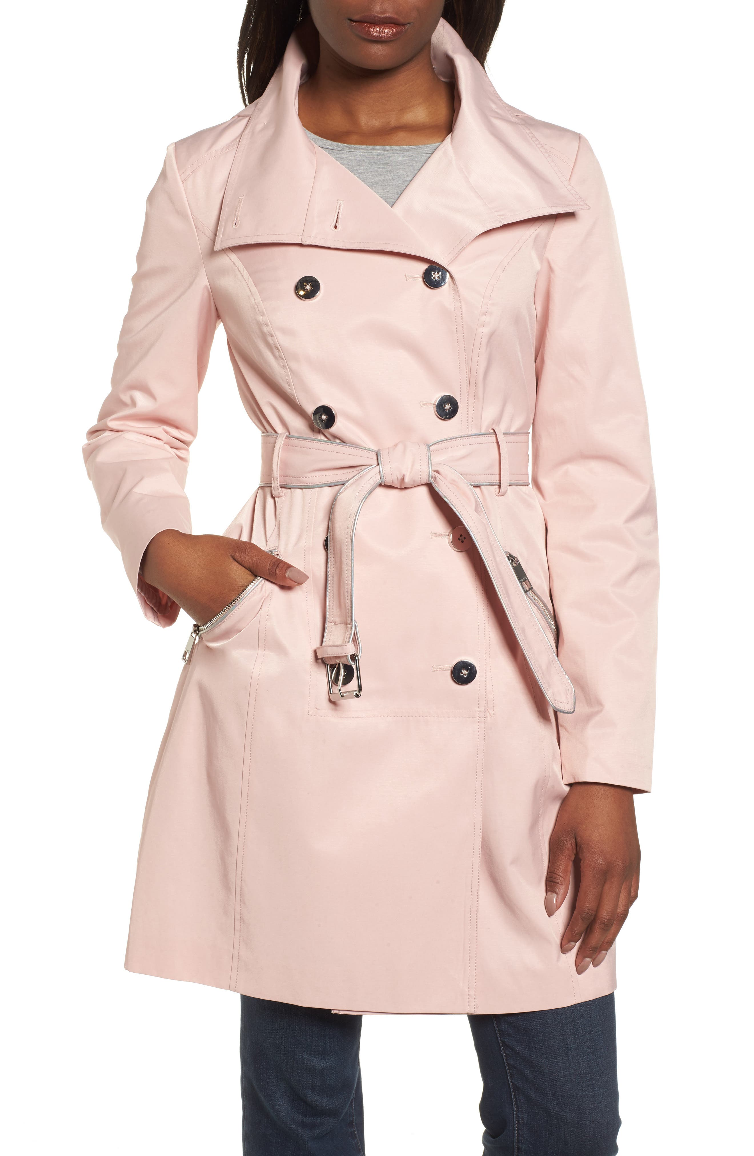 Hooded Piped Trench Coat,                             Main thumbnail 2, color,