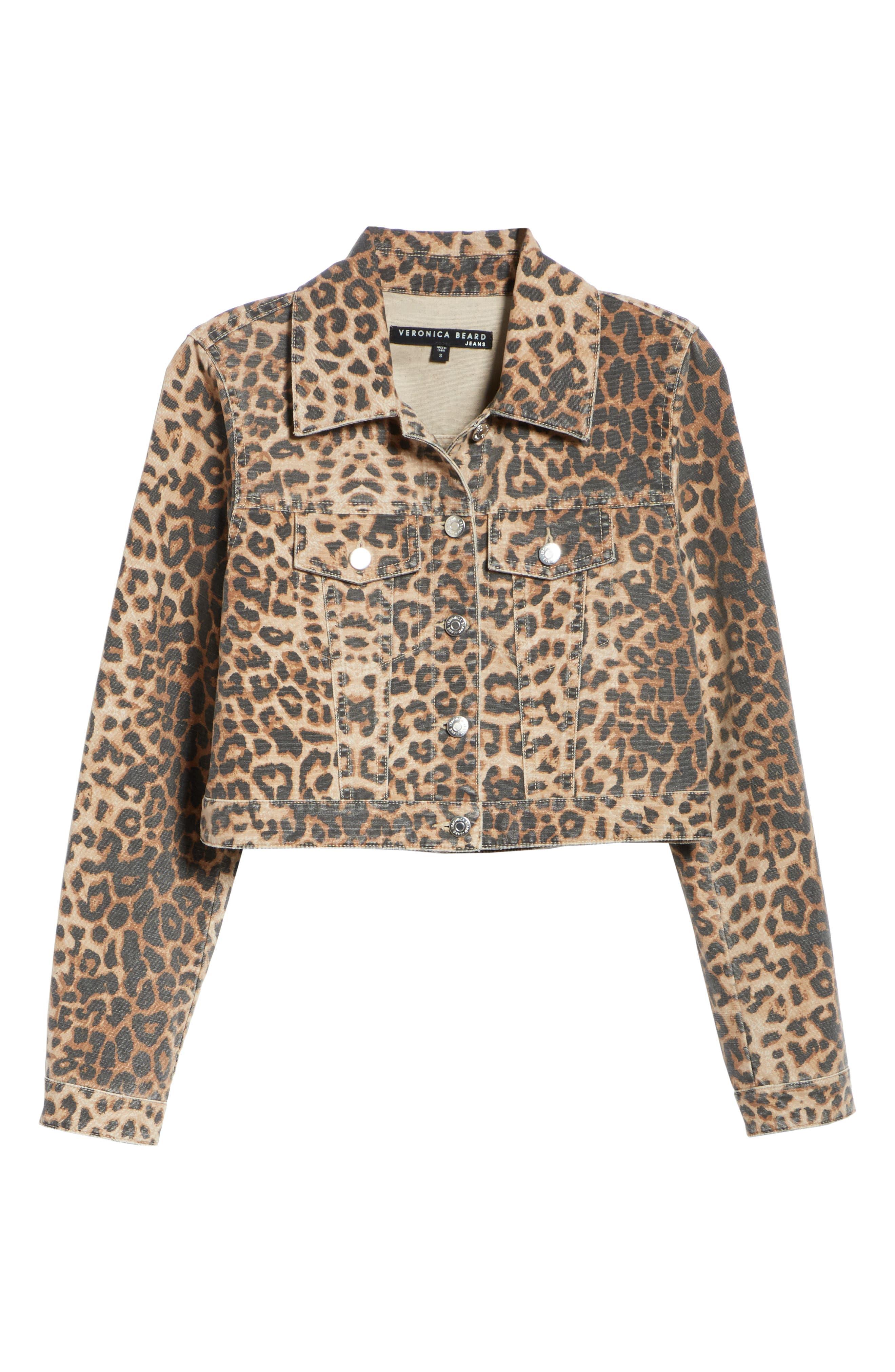 VERONICA BEARD,                             Cara Leopard Print Crop Denim Jacket,                             Alternate thumbnail 6, color,                             LEOPARD