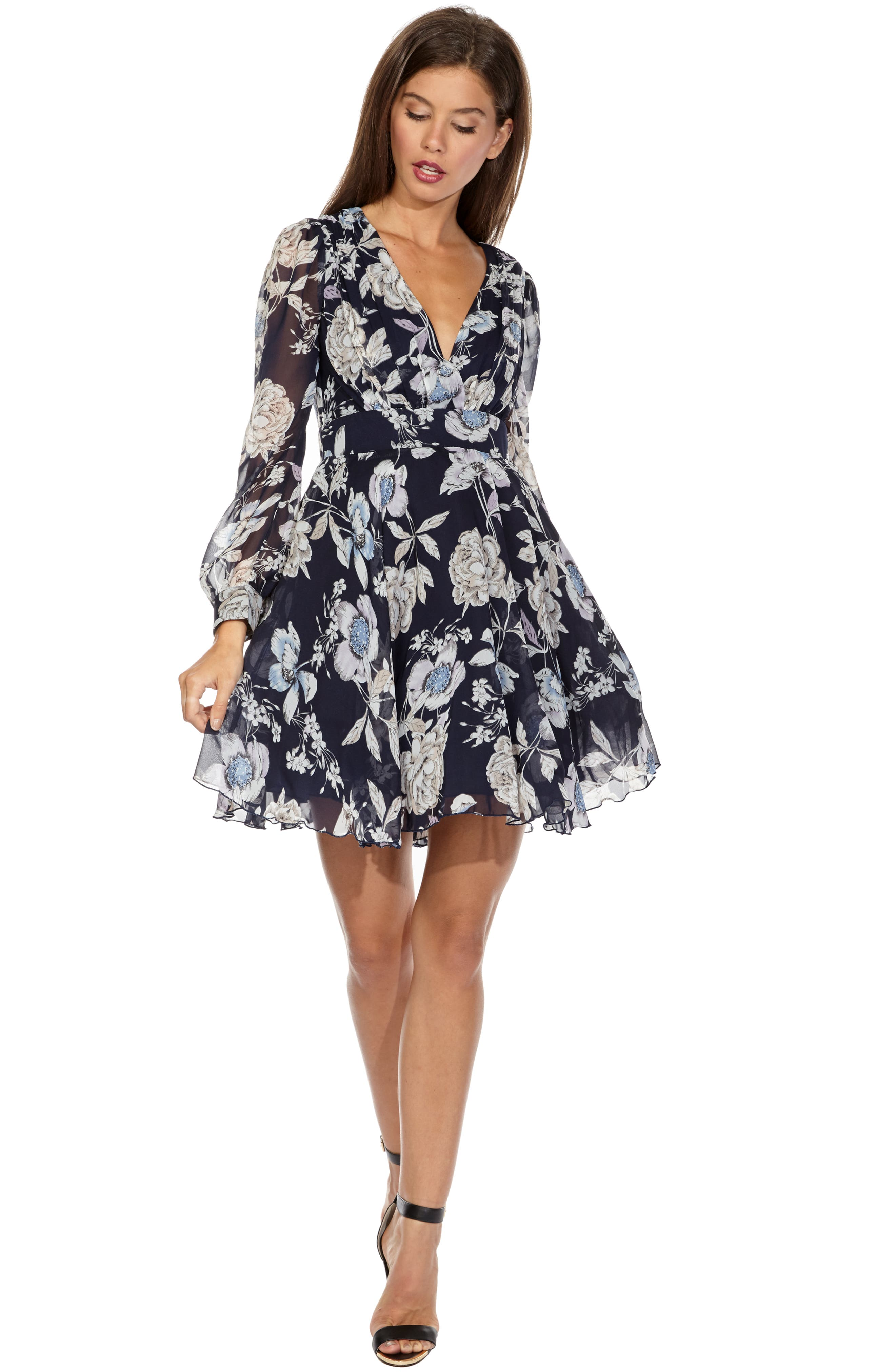Nordi Floral Fit & Flare Party Dress,                             Alternate thumbnail 3, color,                             FLORAL PRINT