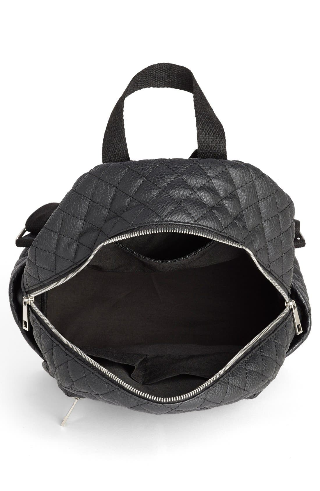 Faux Leather Quilted Backpack,                             Alternate thumbnail 3, color,